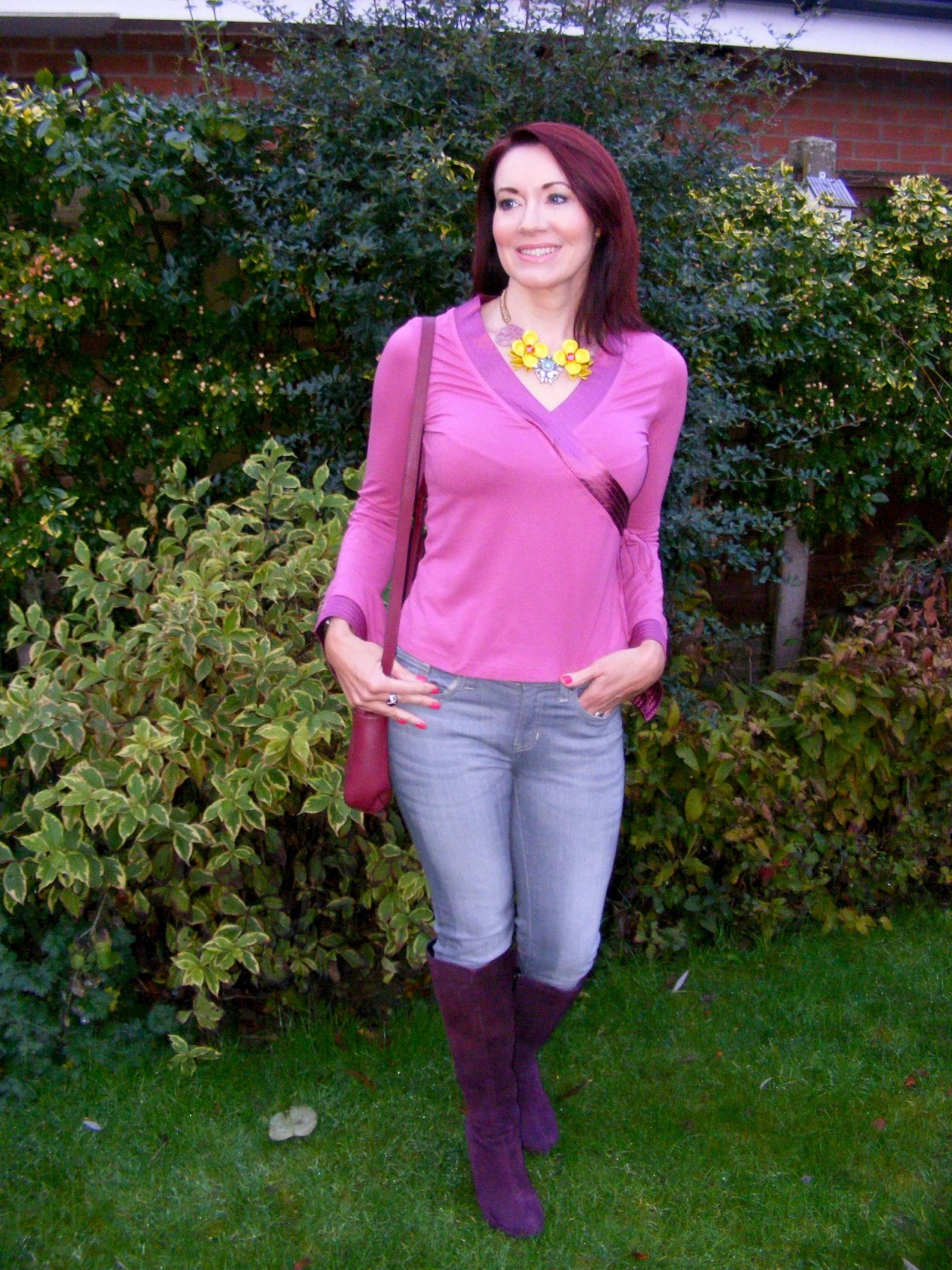 flower necklace, office burgundy suede knee boots