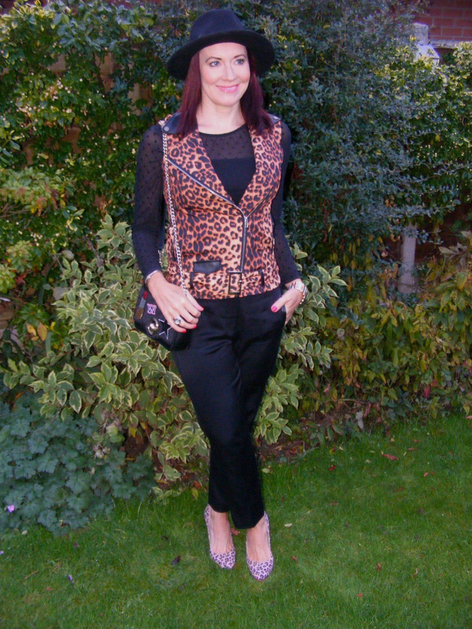 Leopard print waistcoaat Zara hat