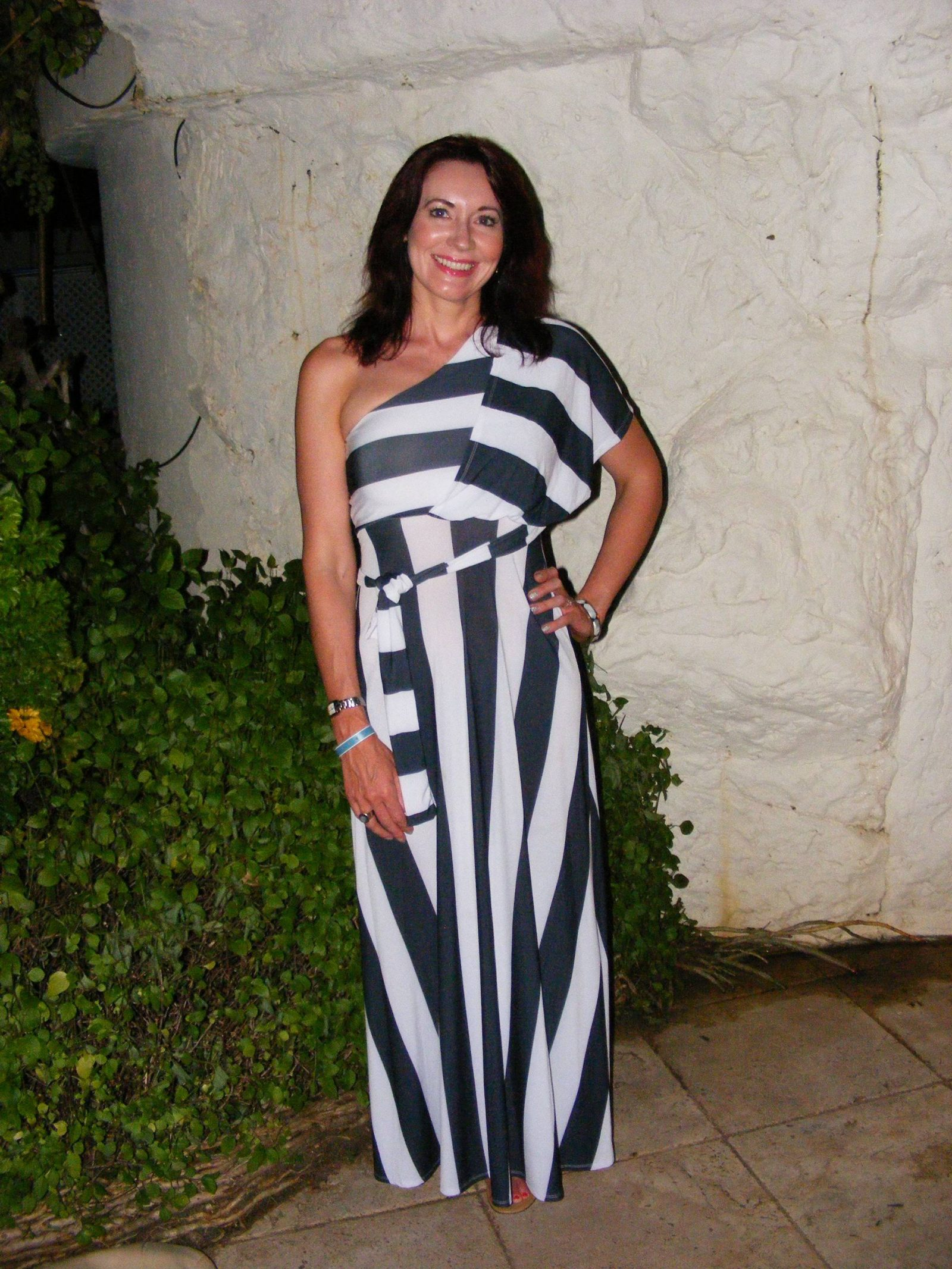 Barbados Holiday Maxi Dresses, black and white striped maxi dress