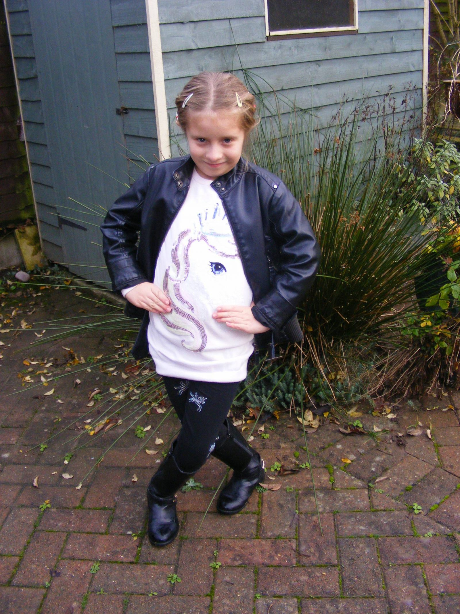 Mummy and Me Outfit | Biker Jacket, Boots and Motif Sweater