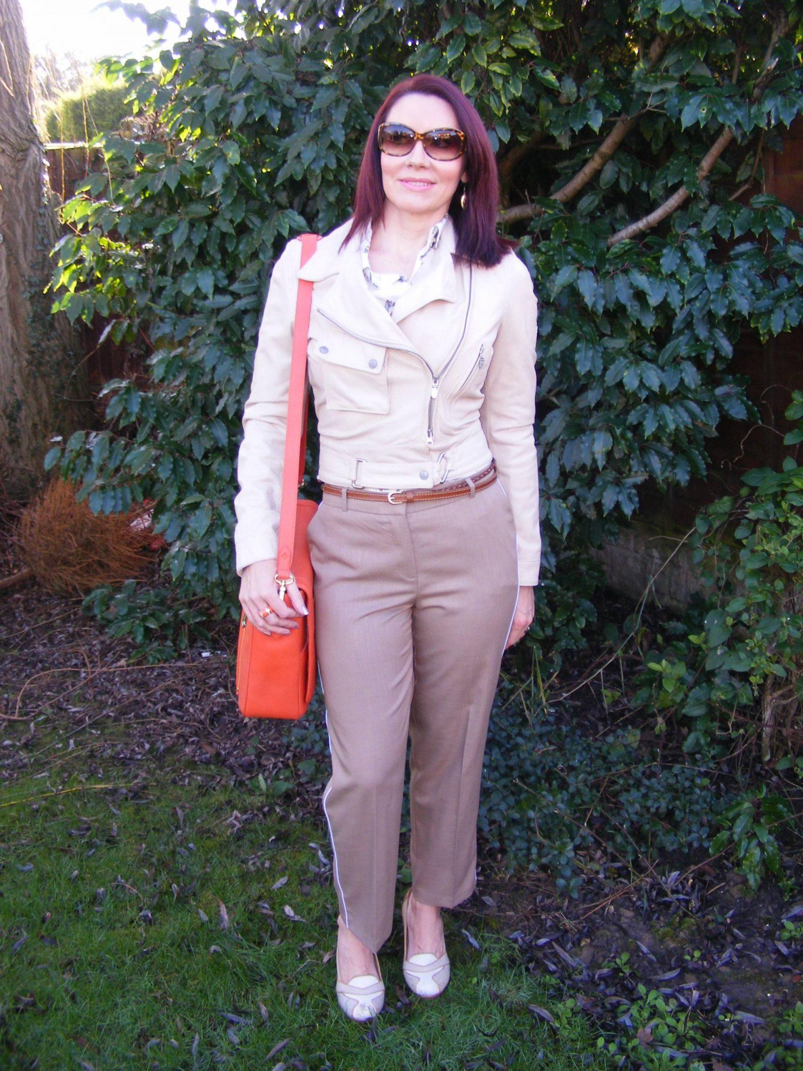 Neutrals With a Pop of Orange Zara shirt Model KT bag Asos trousers Belstaff leather jacket Model KT bag