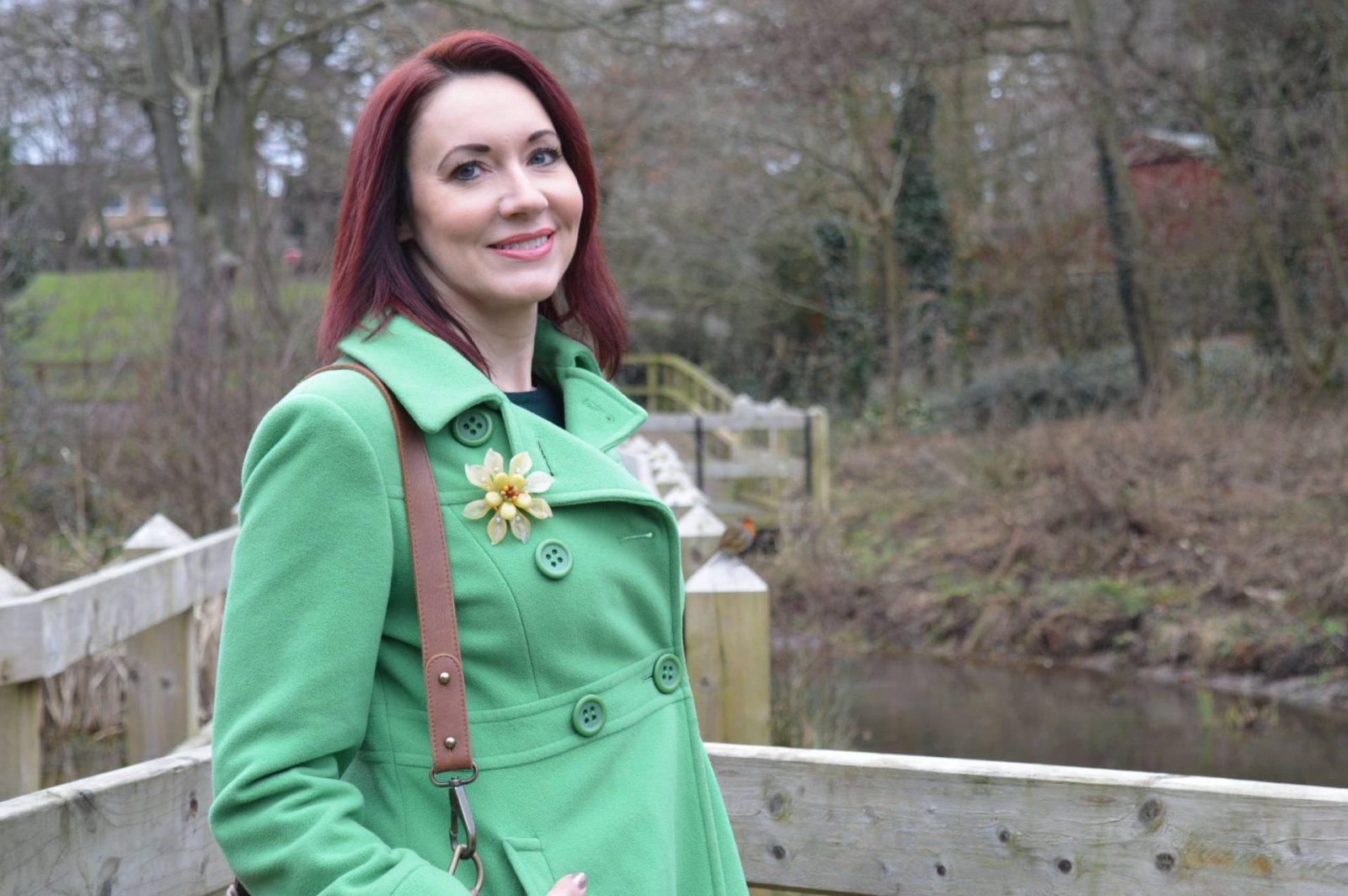 Shades of Green and Brown Laura Ashley green coat