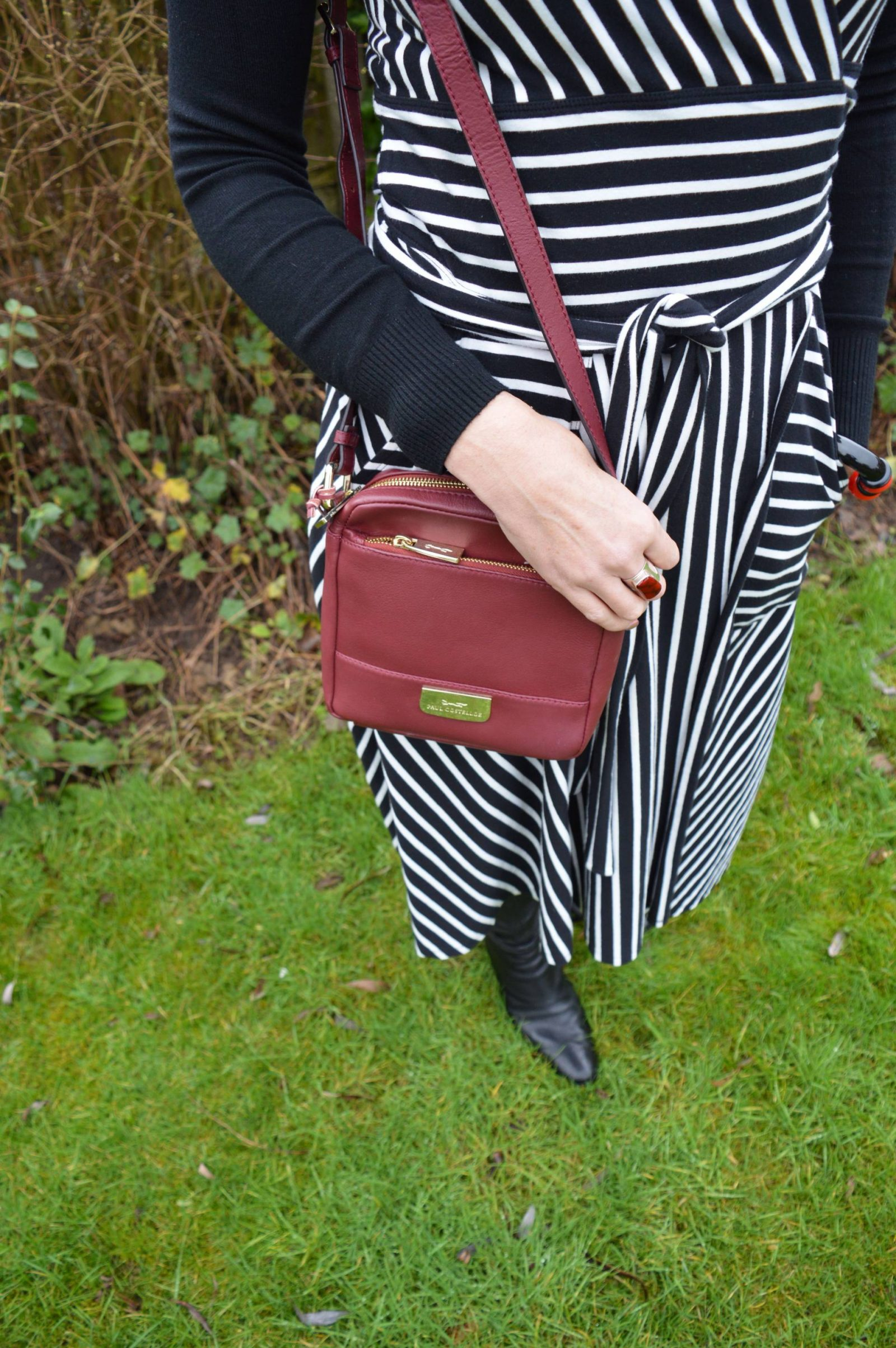 Styling a Winser Wrap Dress For Winter and Summer paul-costelloe-bag