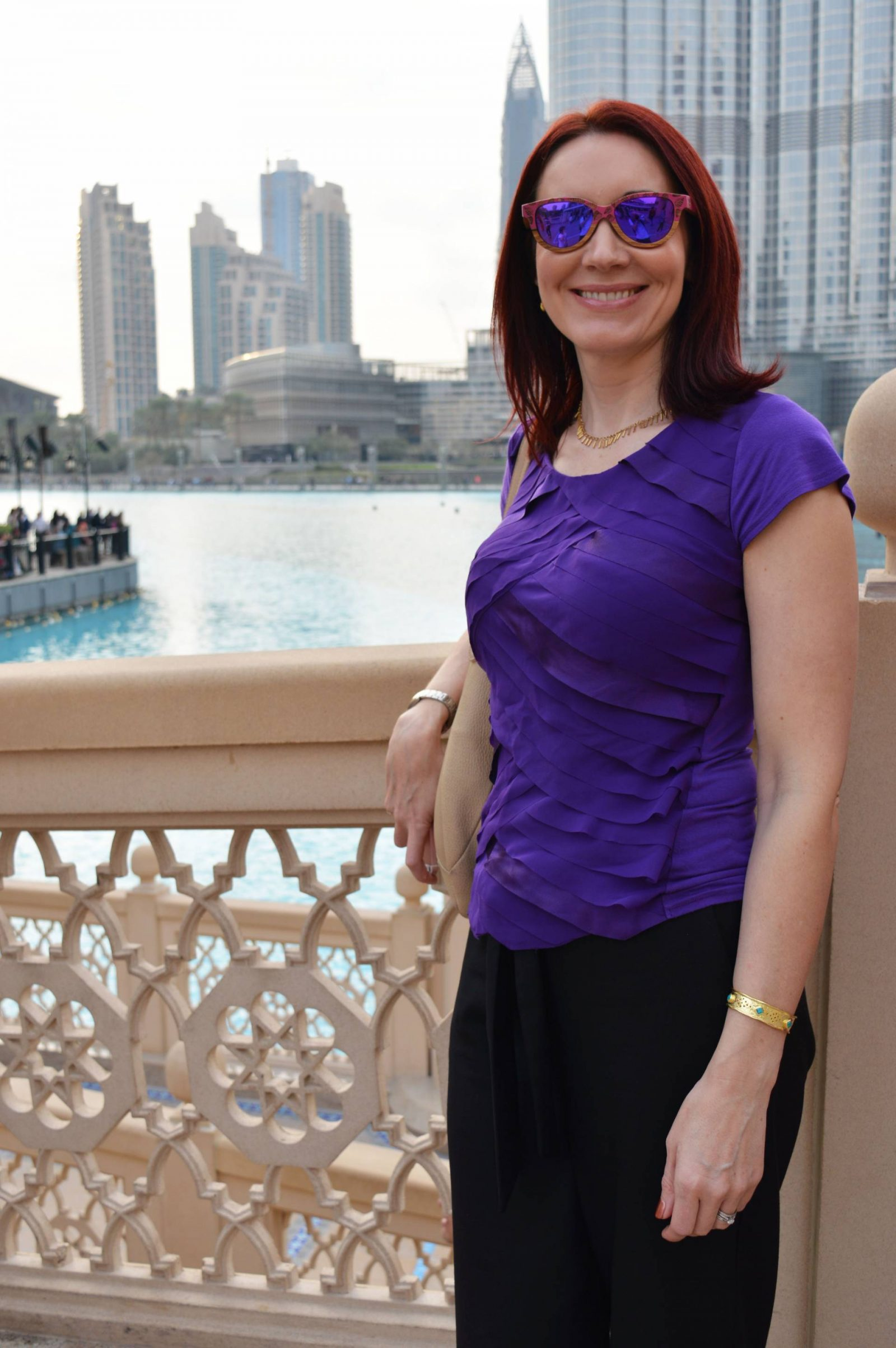 A Day in Dubai Going Up the Burj Khalifa Souk Al Bahar winkwood sunglasses