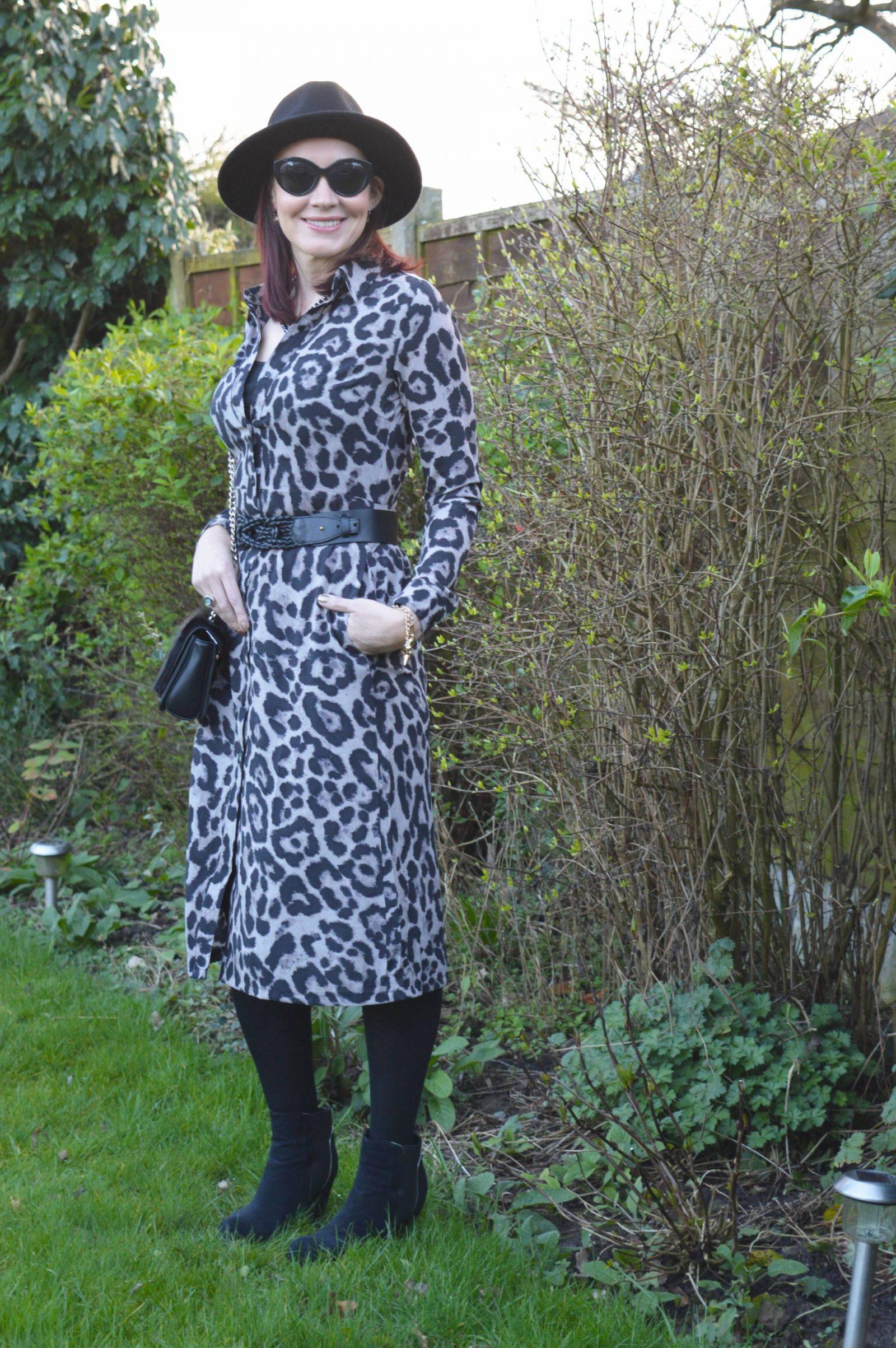 Leopard Print Shirt Dress and Wide Brim Hat