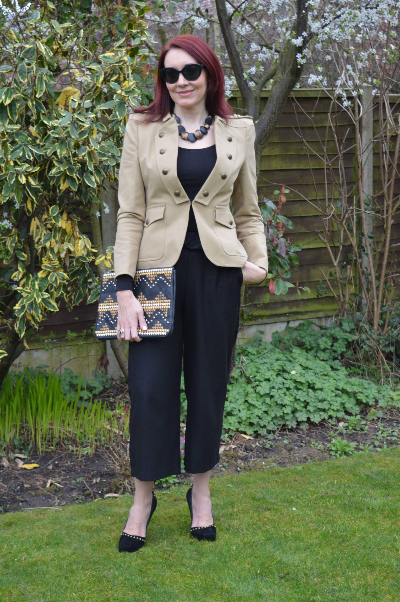 Military Jacket and Studs zara-military-blazer-and-black-trousers asos studded clutch
