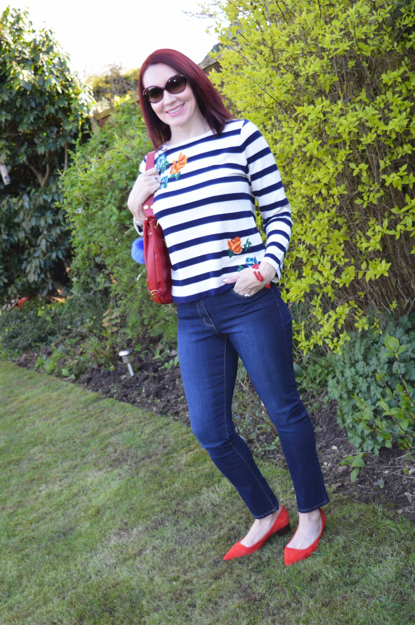 Bonmarché Slim Leg Jeans and Stripe Floral Jumper