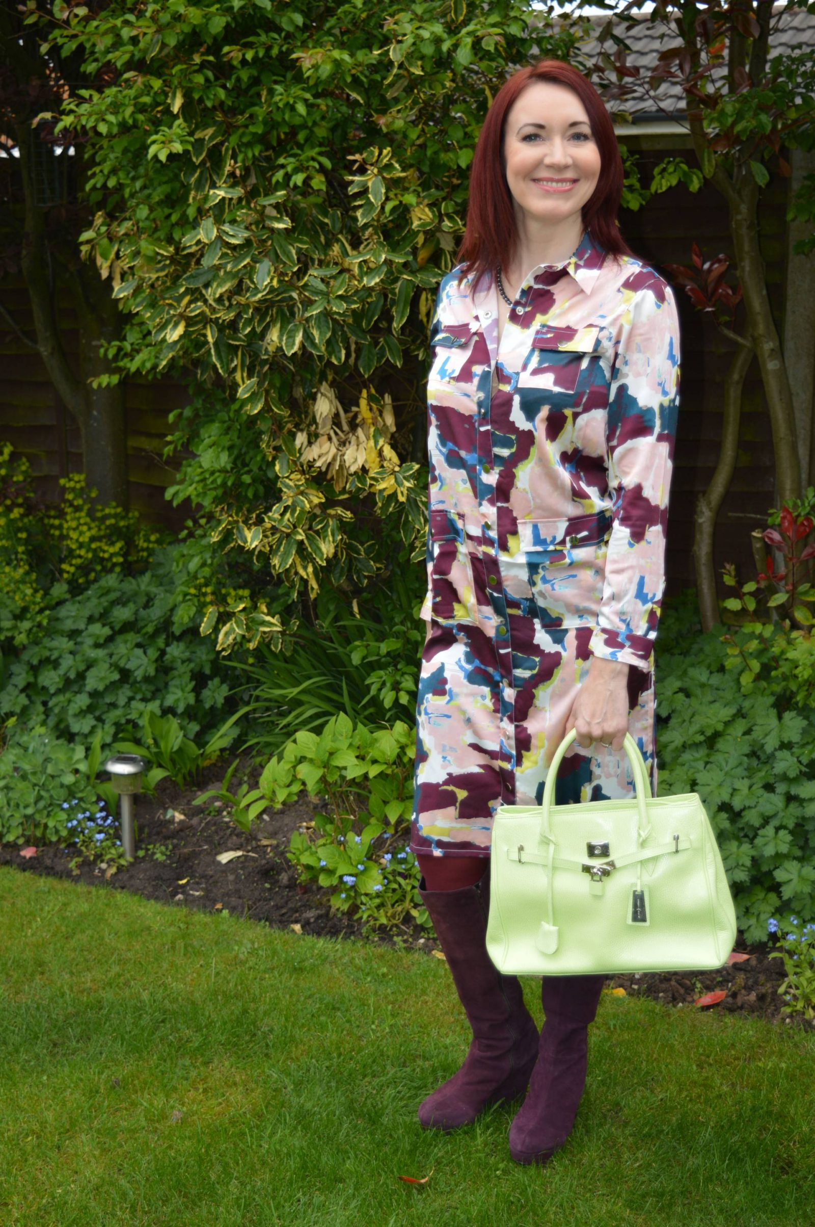 finery-shirt-dress-green-jasper-conran-bag