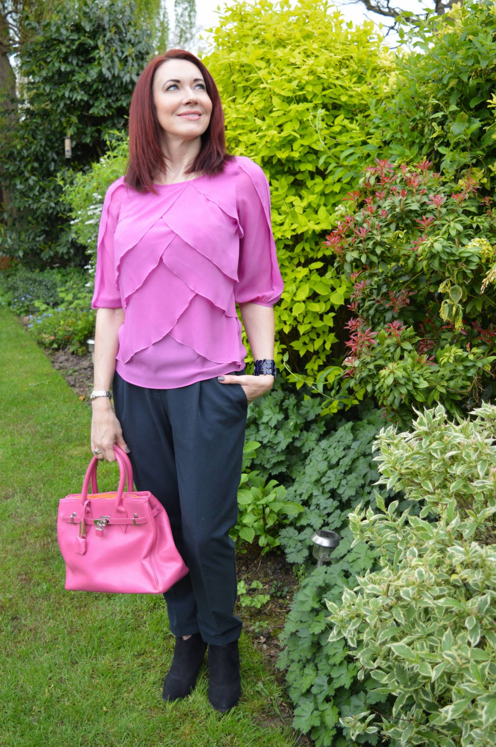 Pink M&S frill top