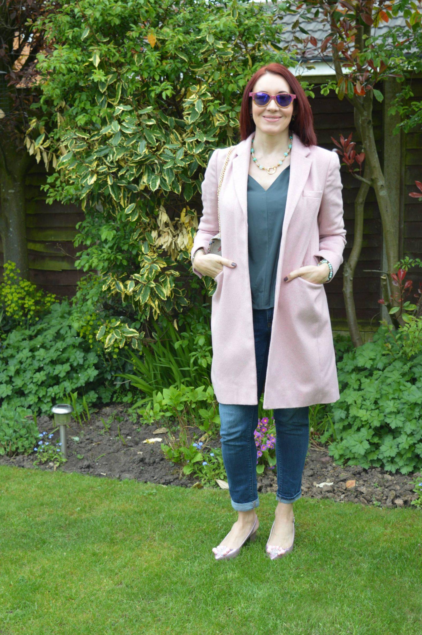 pink-coat-shoes-bird-print-bag