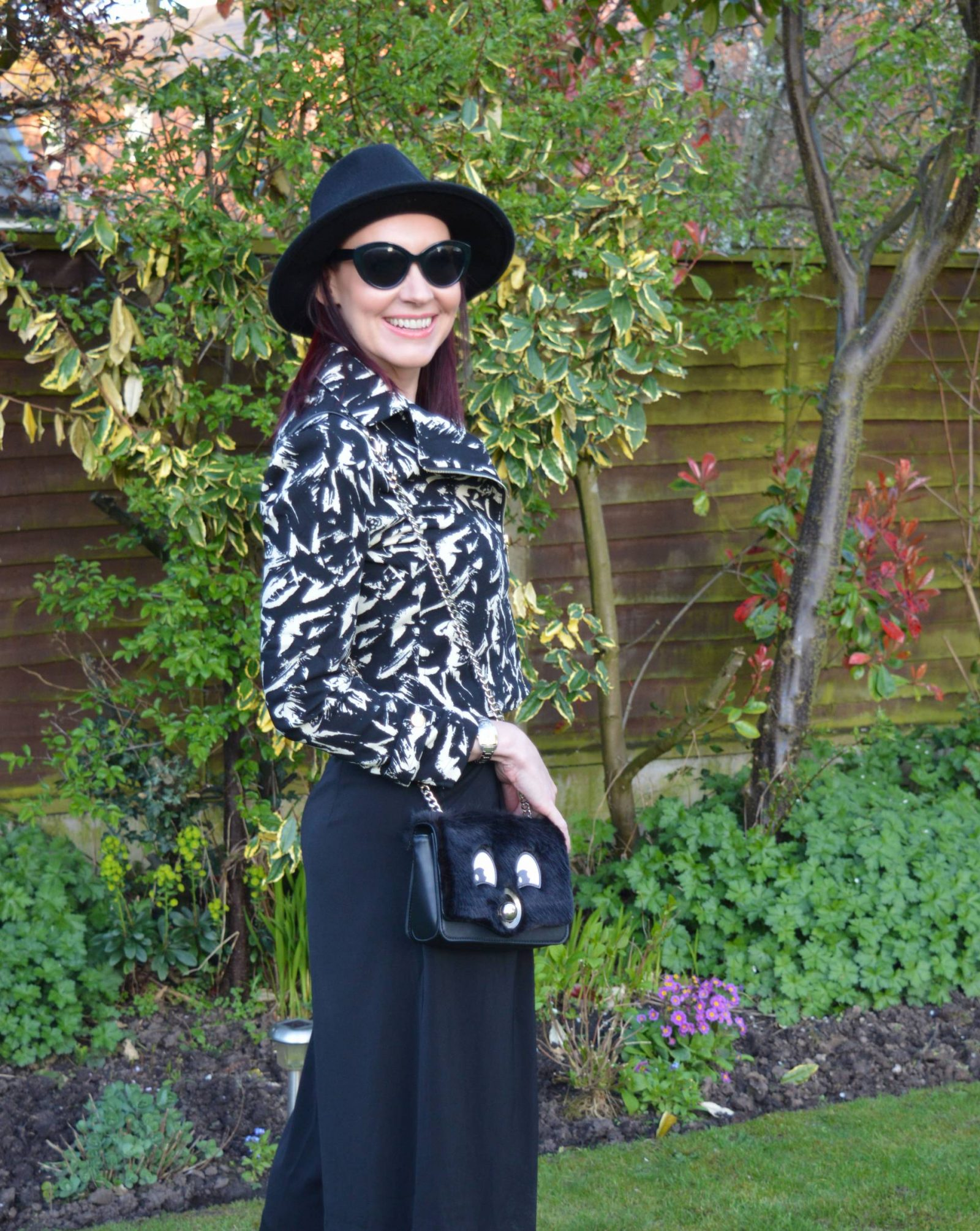 Yoins black and white Biker Jacket and Culottes