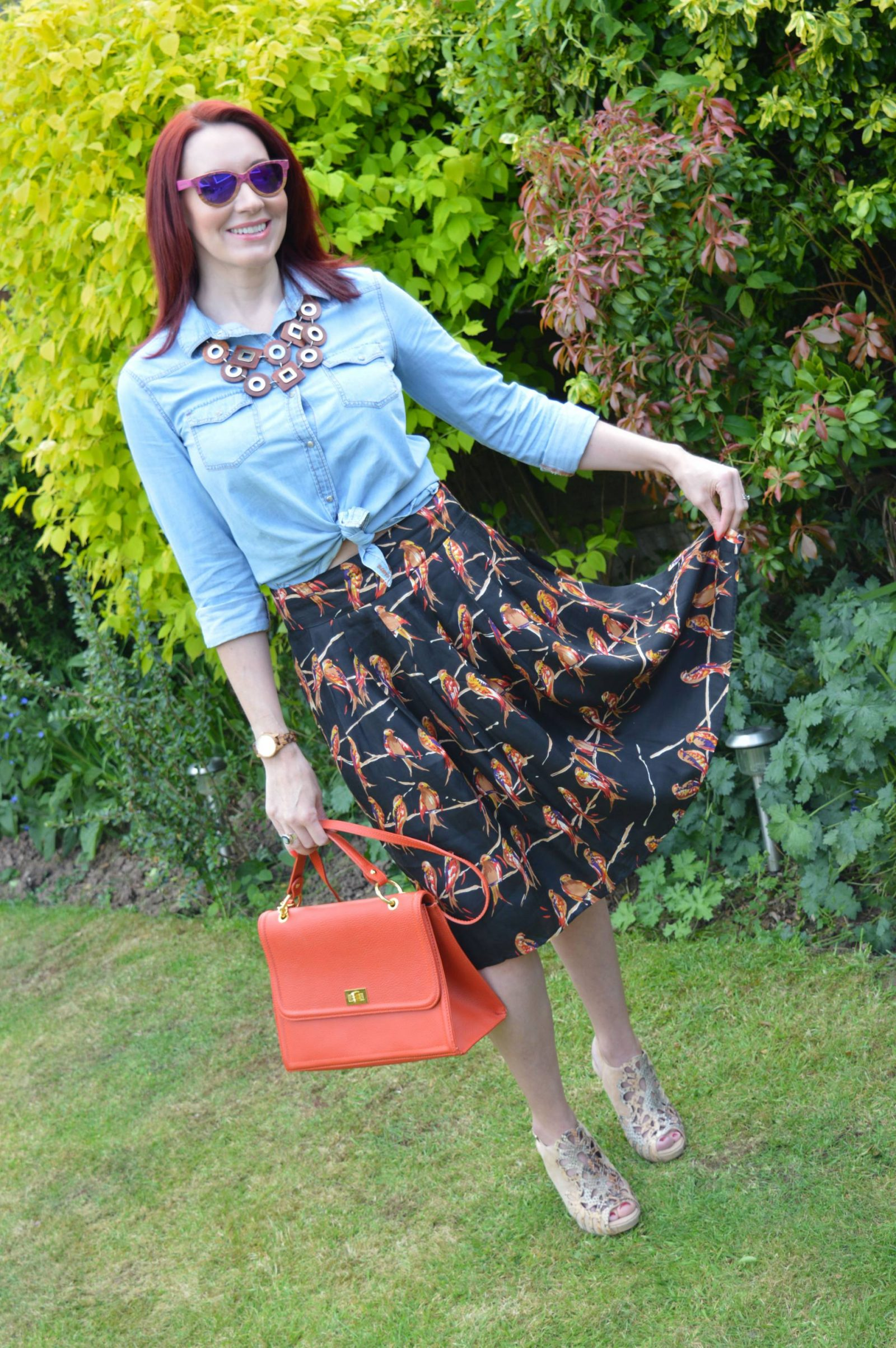 Jord Watch Review and Giveaway Great Plains bird print skirt wooden necklace
