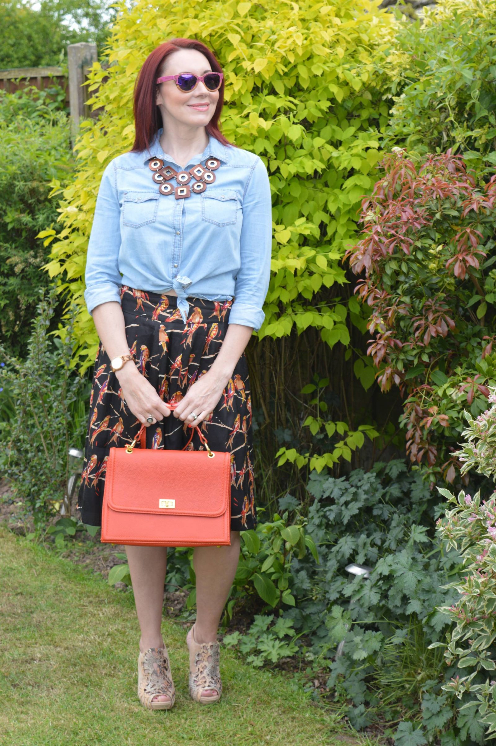 Bird print midi skirt and chambray shirt