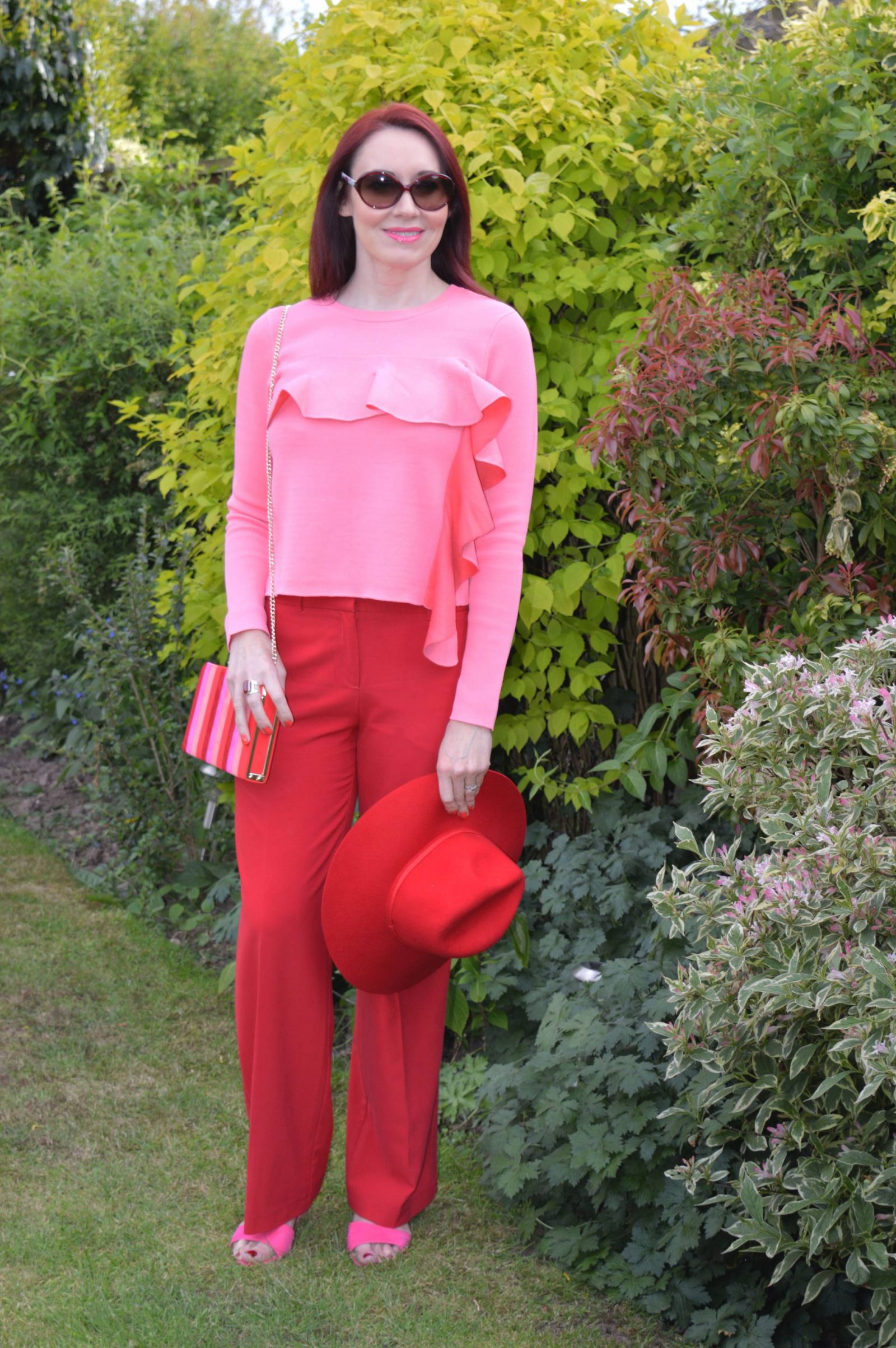 Lotus wedge sandals,striped clutch bag, Asos pink ruffle jumper