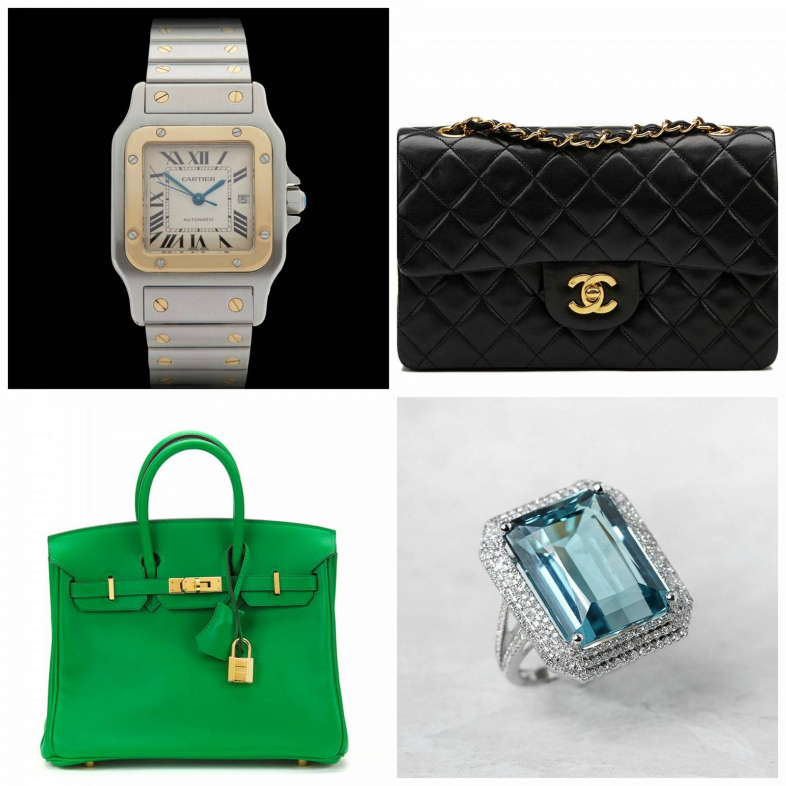 Pre-loved Luxury Goods at Xupes Cartier watch, green Hermes Birkin bag, Chanel quilted bag, diamond and aquamarine cocktail ring