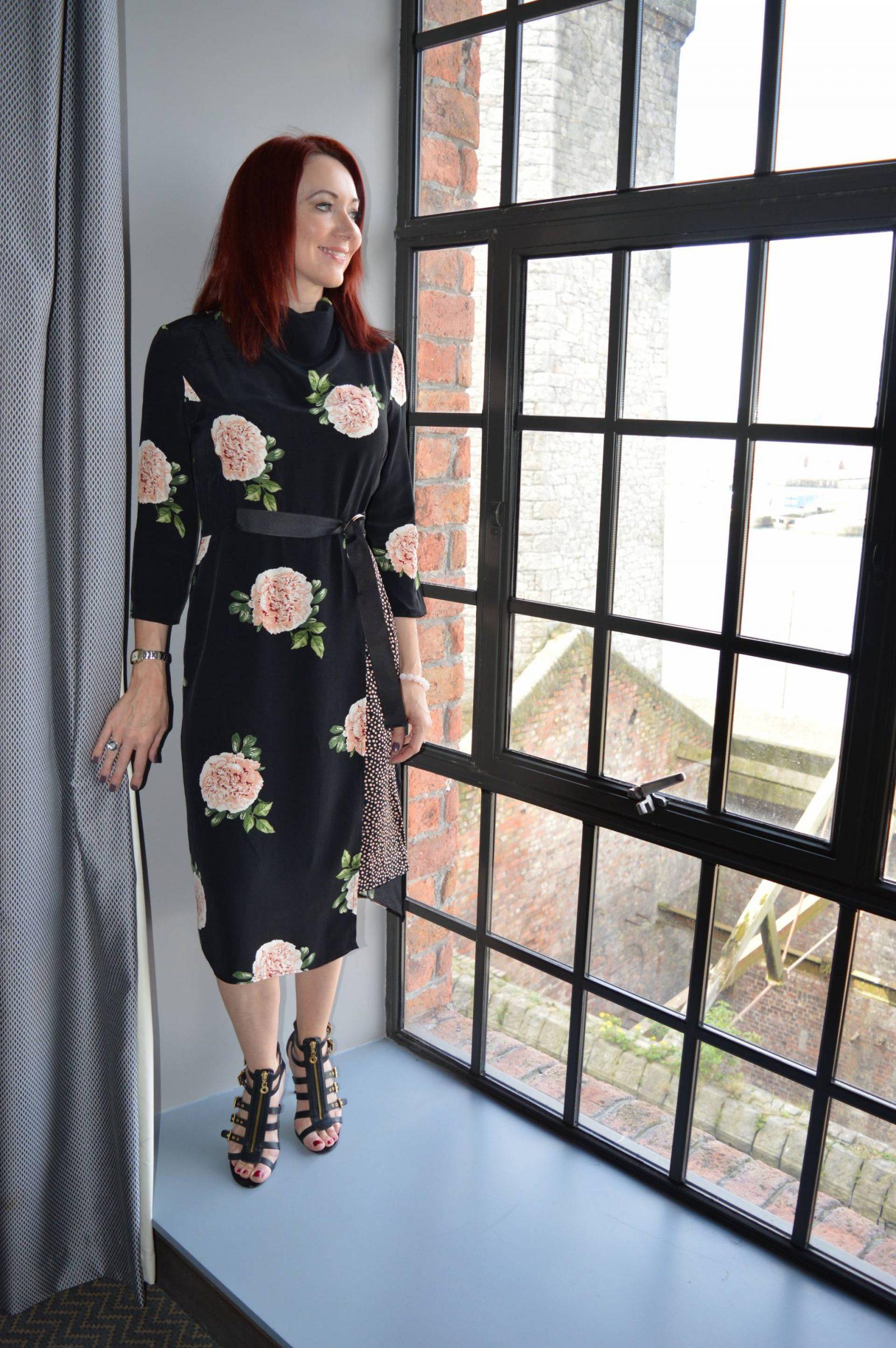 Black Rose Print Dress at the Titanic Hotel Liverpool