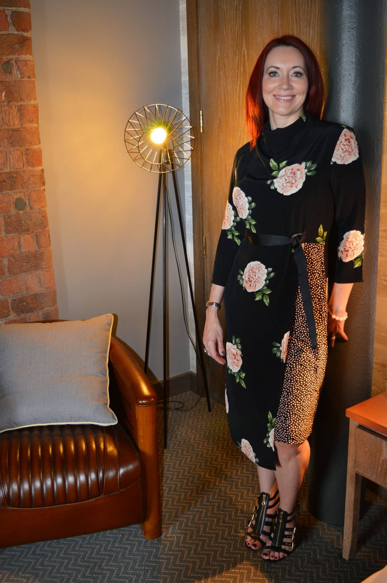 Black Rose Print Dress at the Titanic Hotel Liverpool