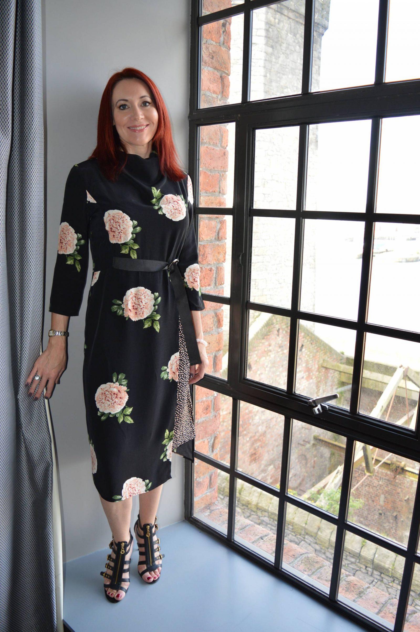 Nine by Savannah Miller black rose print dress at the Titanic Hotel Liverpool