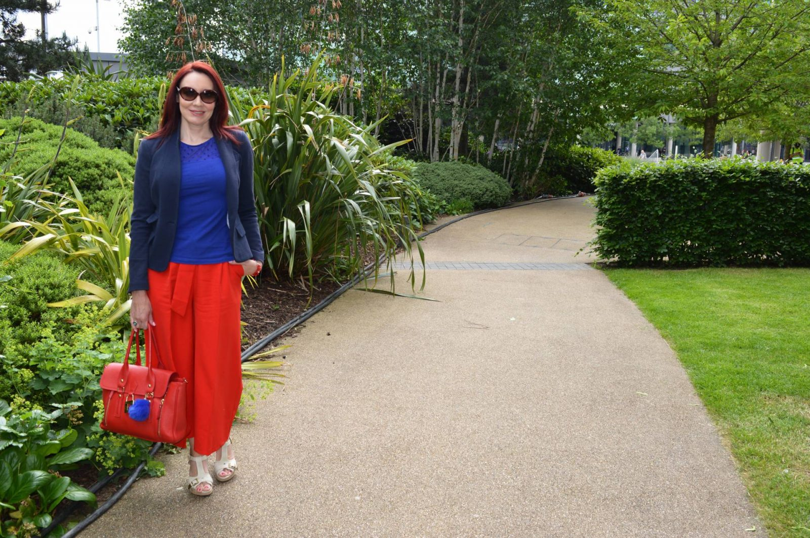 Red Culottes and Cobalt Top
