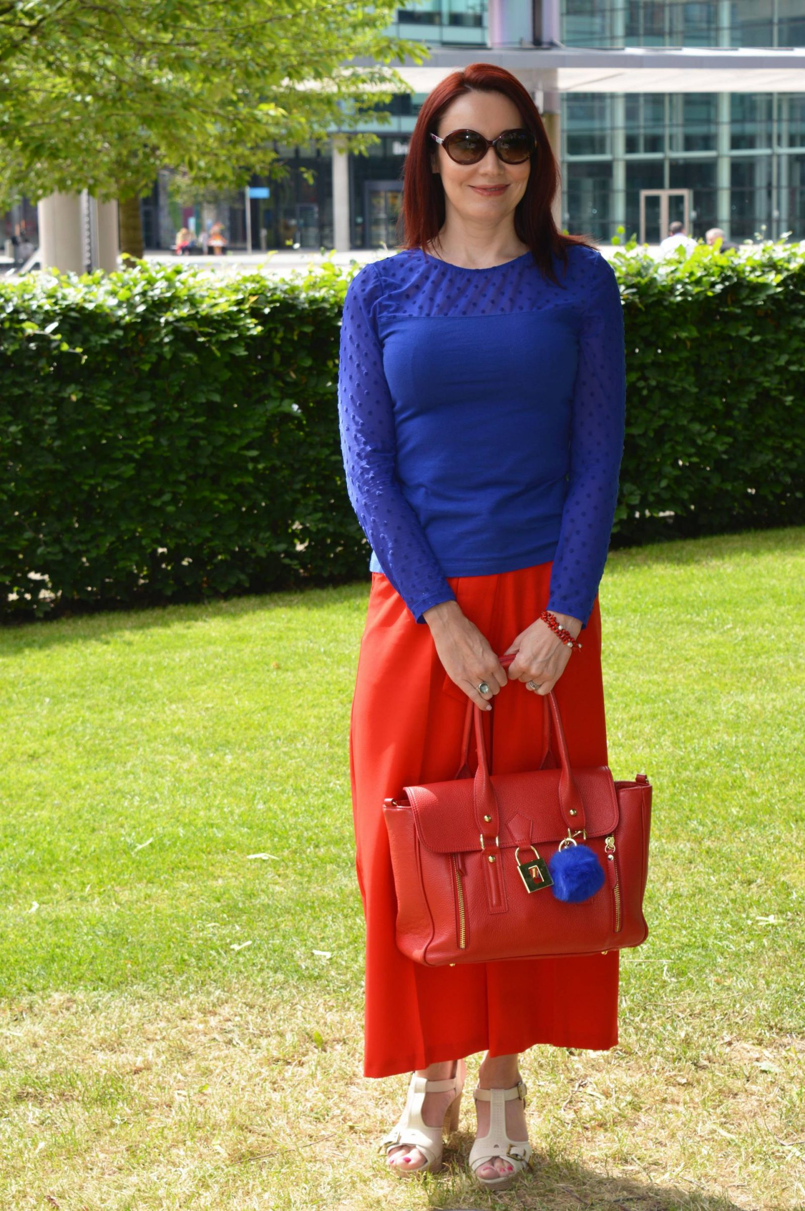 red Asos culottes, blue H&M top