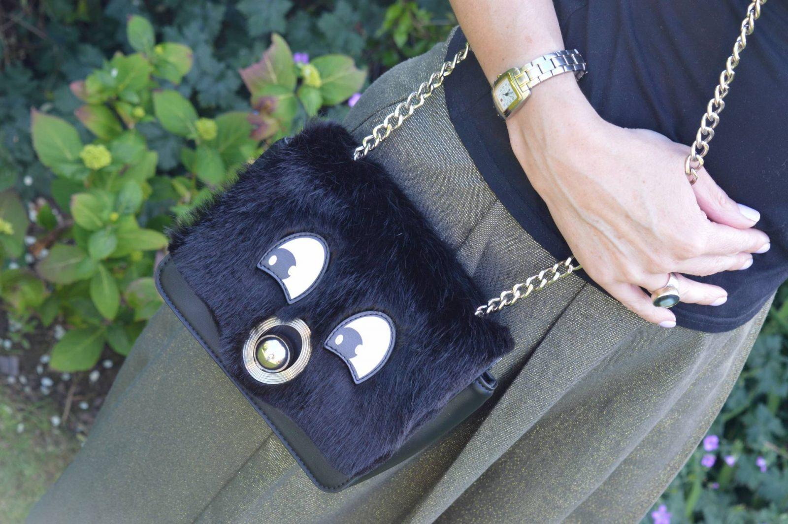 Zara khaki Metallic Culottes, Mix and Match bag, black cold shoulder top