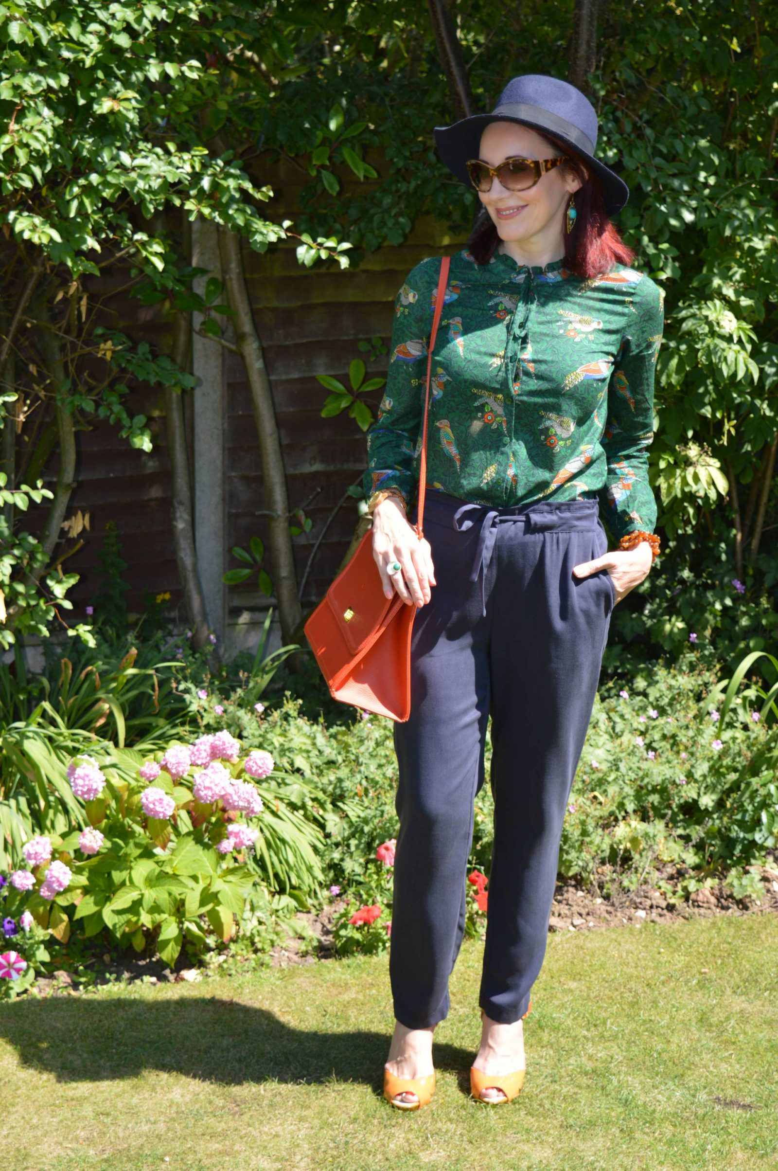 Laura Ashley Bird Print Blouse and Navy Trousers
