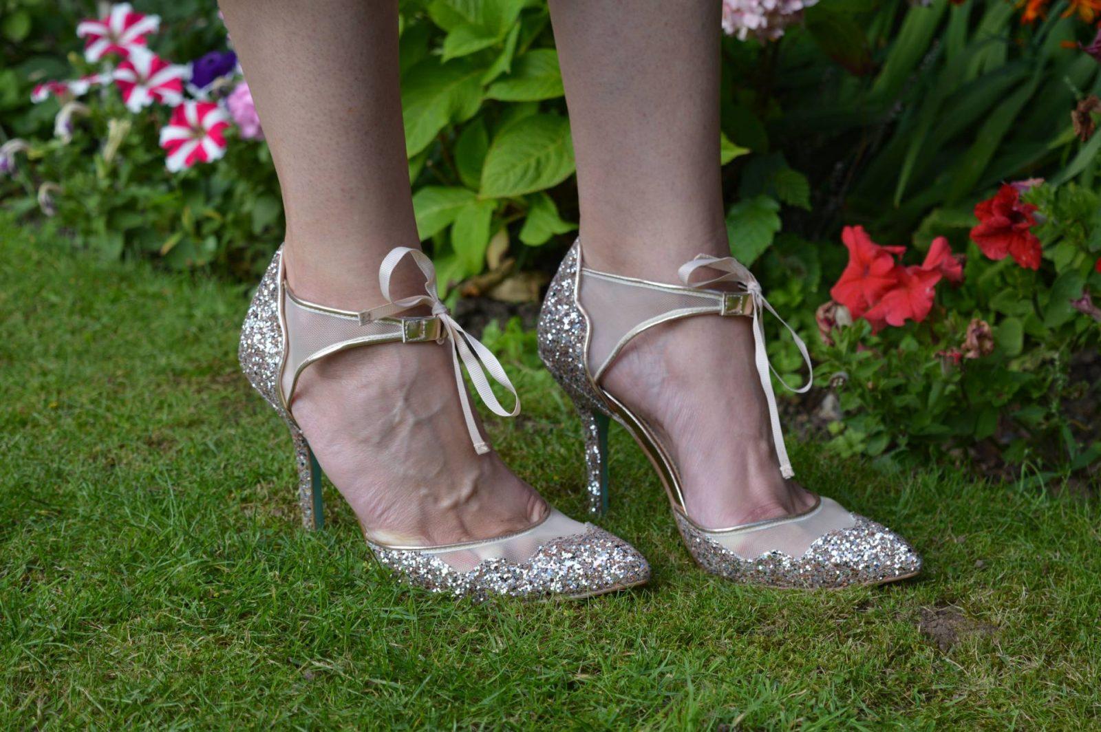 Betsey Johnson rose gold glitter shoes
