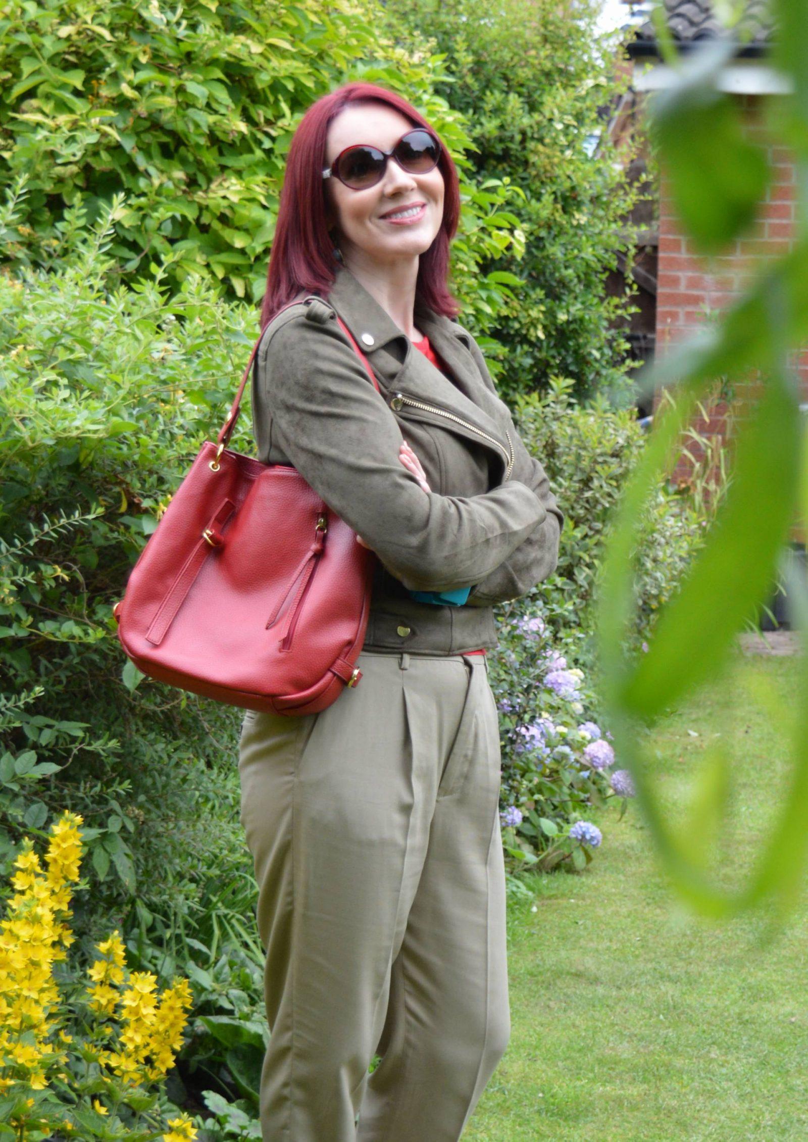 Shades of Khaki With Red Accents River Island khaki biker jacket Zara khaki trousers