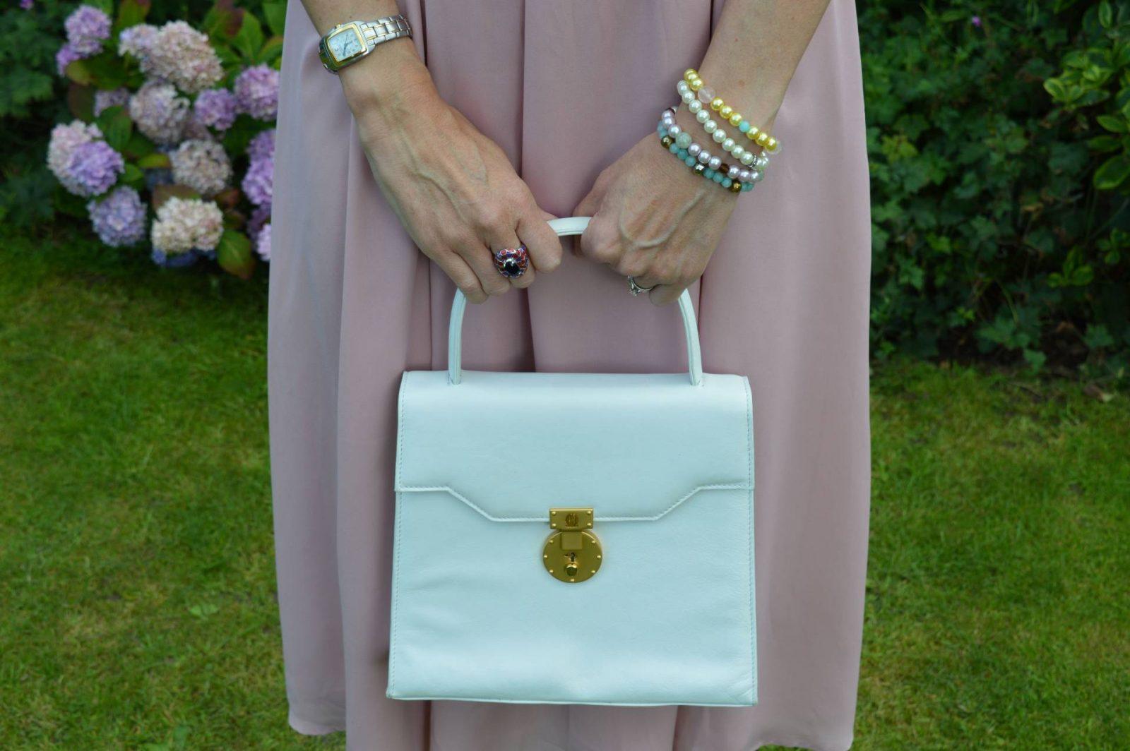 Michelangelo white top handle bag