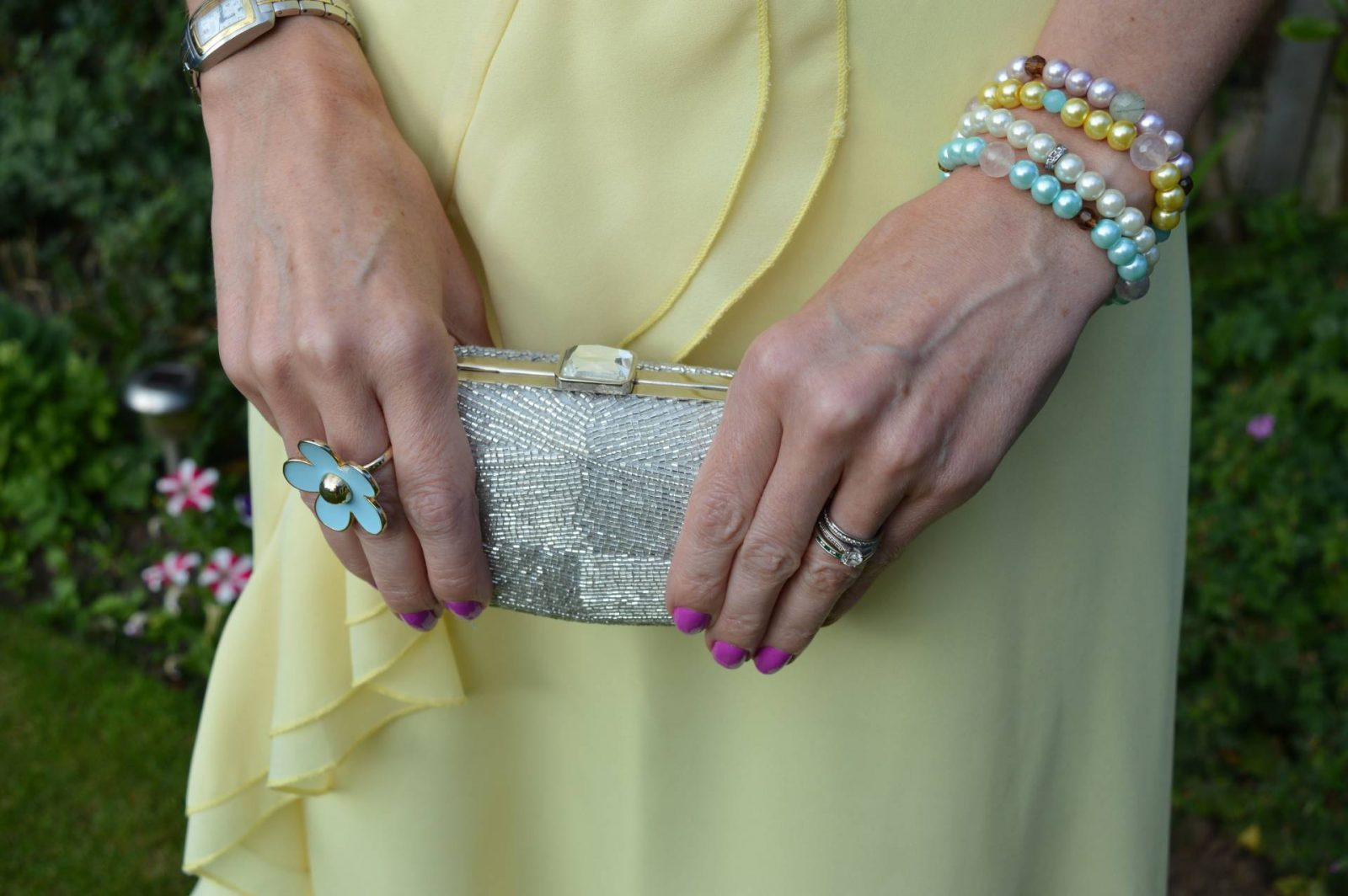 Wedding Guest Dresses From PrettyLittleThing Accessorize silver beaded clutch