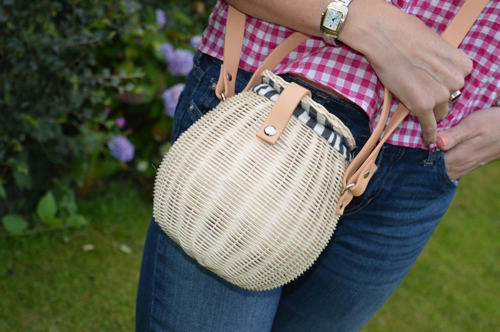 Gingham Ruffles, Denim and Embroidered Shoes Zara gingham top Zara basket bag