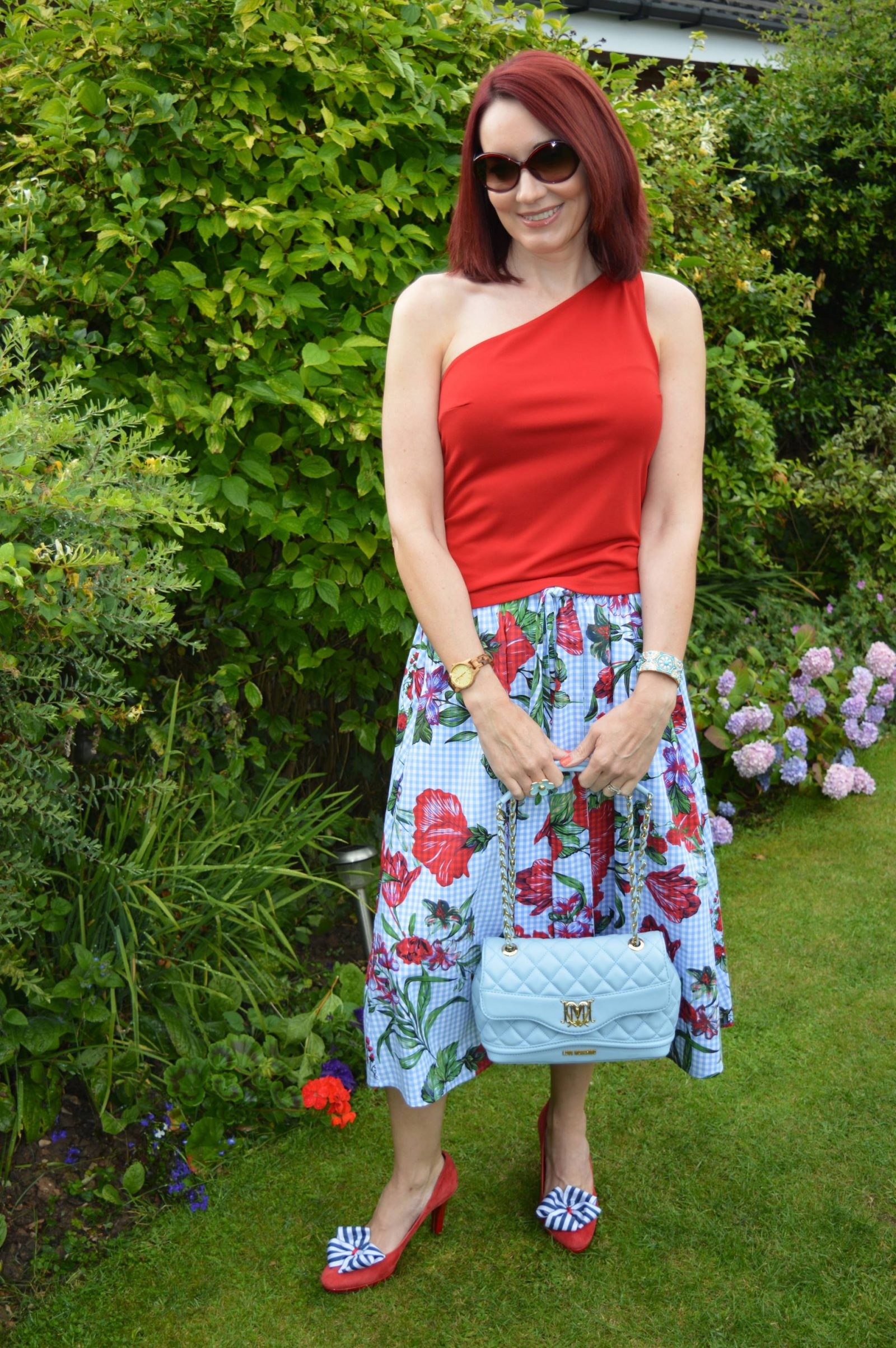 Red One Shoulder Top and Gingham Floral Skirt Zara gingham floral print skirt Love Moschino bag
