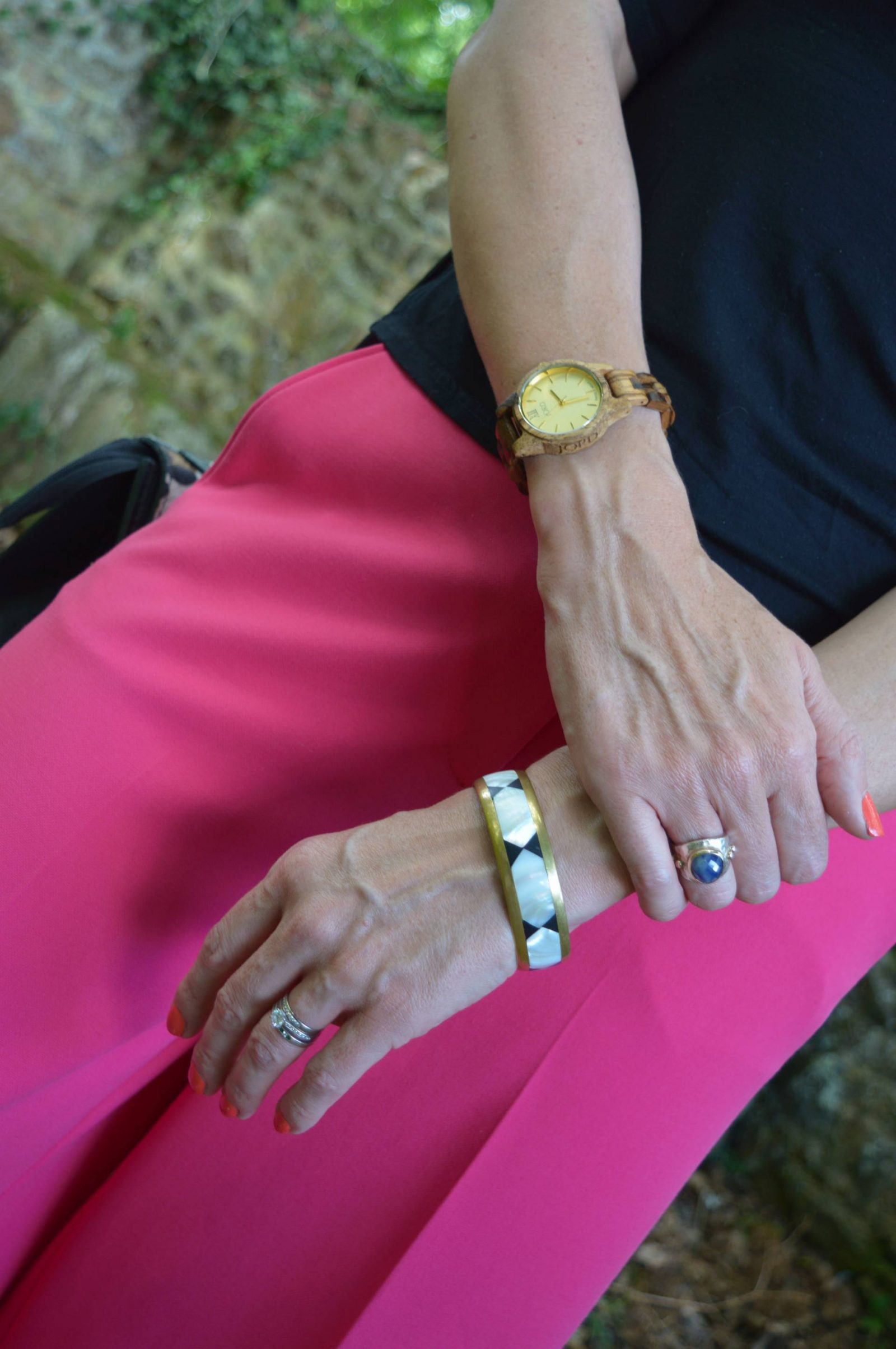 Pink Culottes and Cold Shoulder Top Jord wood watch