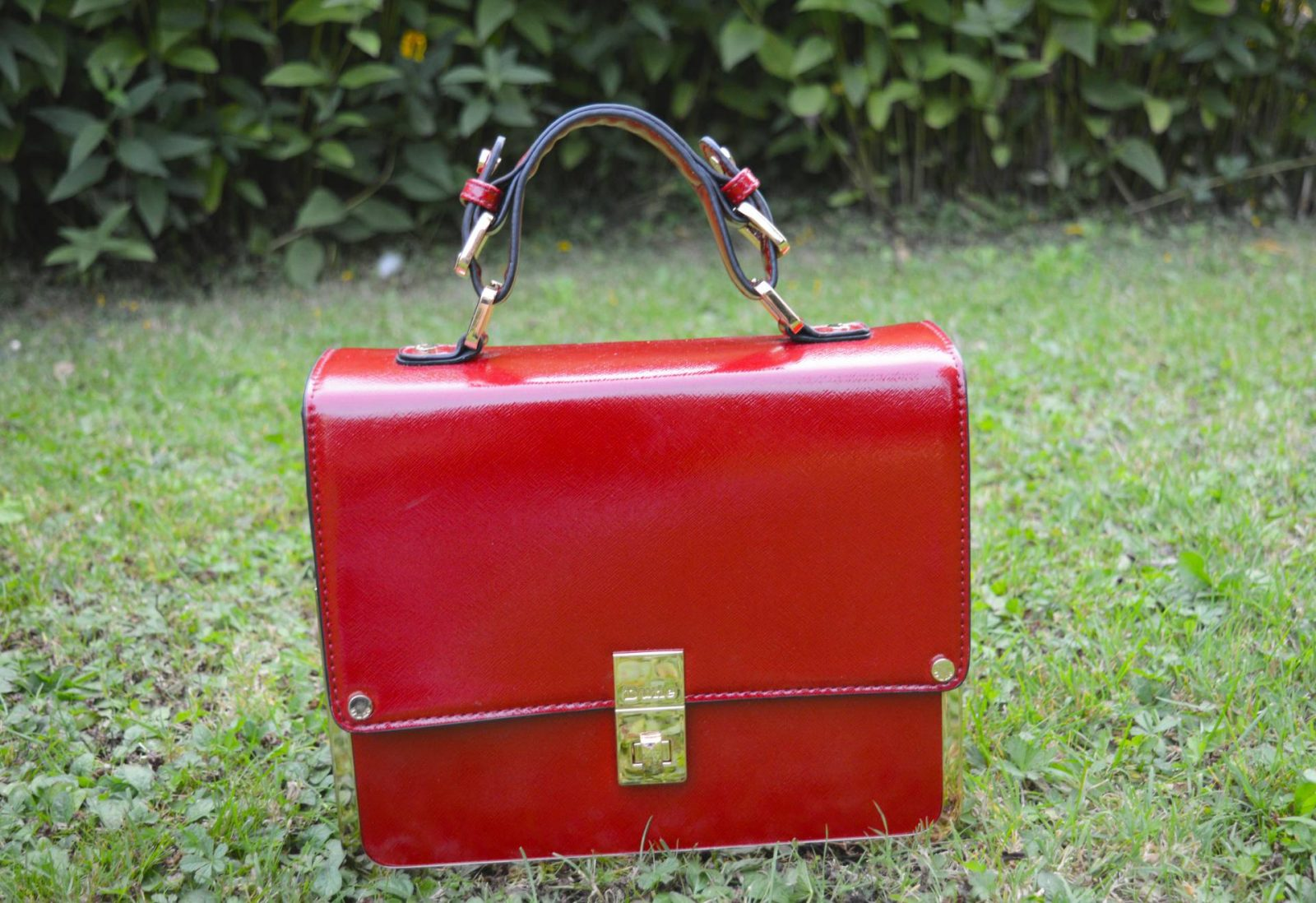 Stripes and Cats Dune red top handle bag