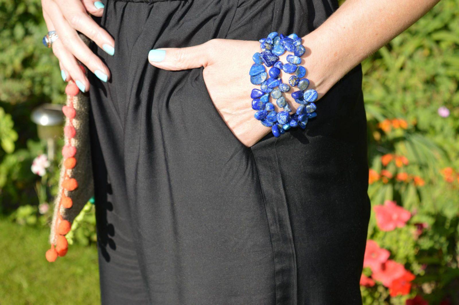 Seafolly Jumpsuit and Hessian Crossbody Pom Pom Bag Pia lapis lazuli bracelet