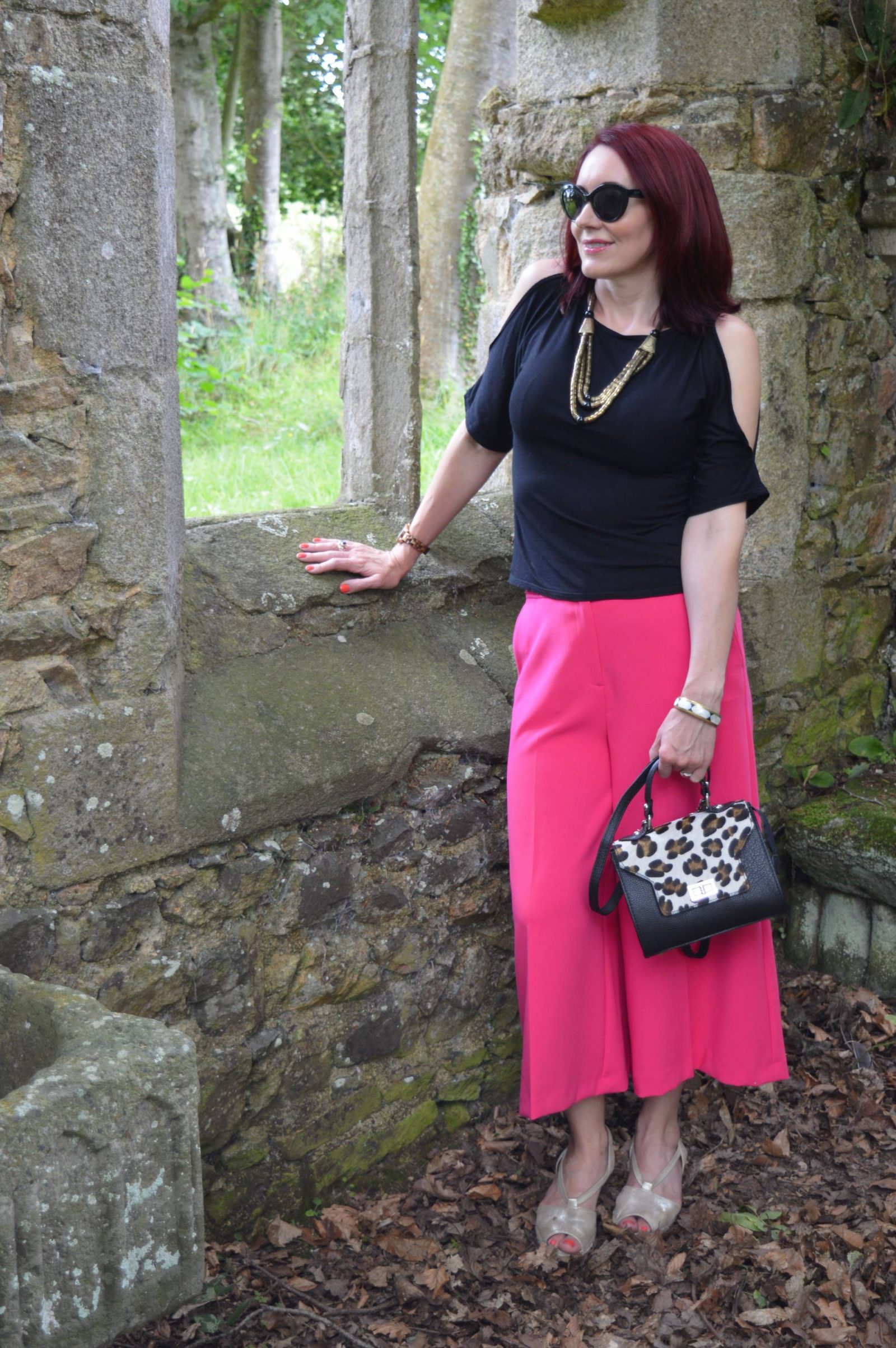 Pink Culottes and Cold Shoulder Top