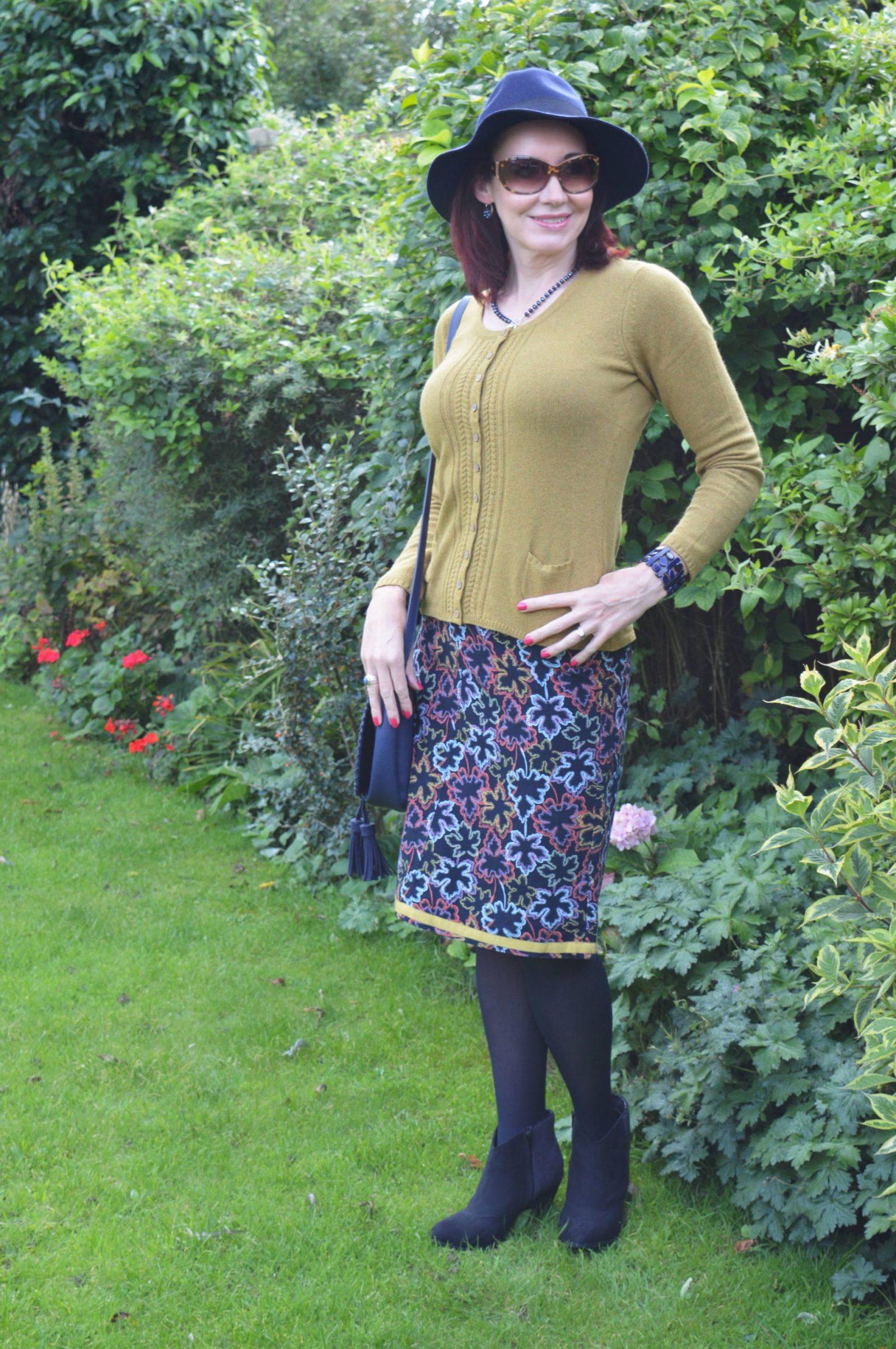 Mistral Cardigan and Leaf Print Skirt