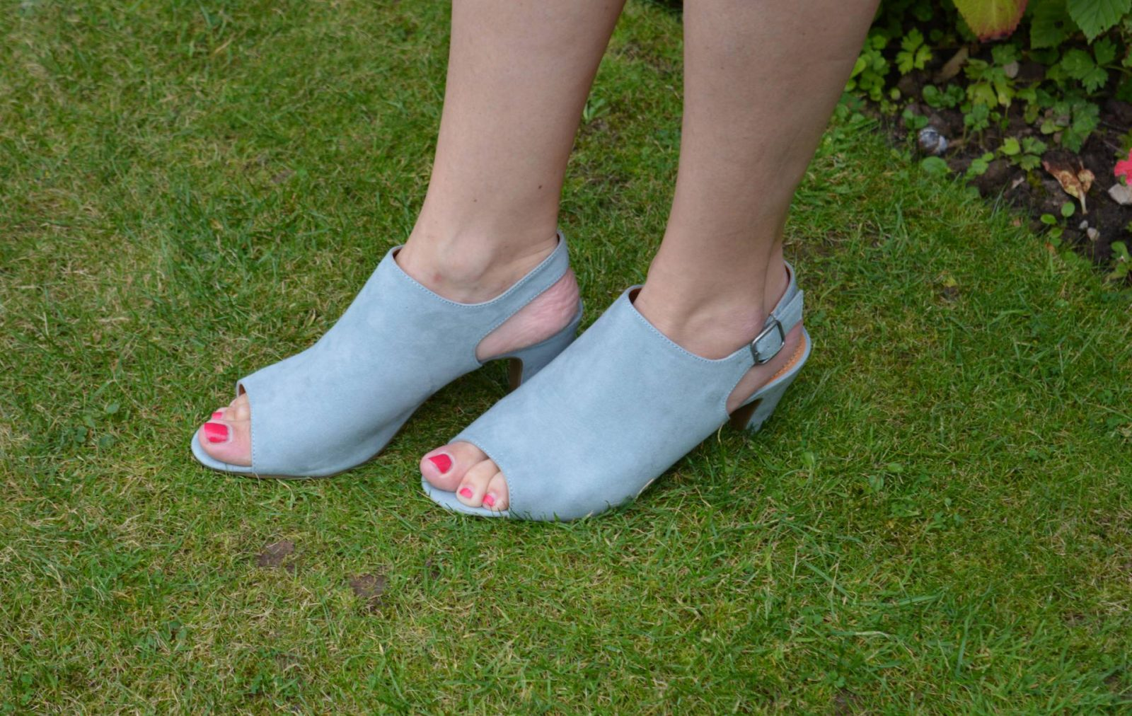 pale blue suede mules