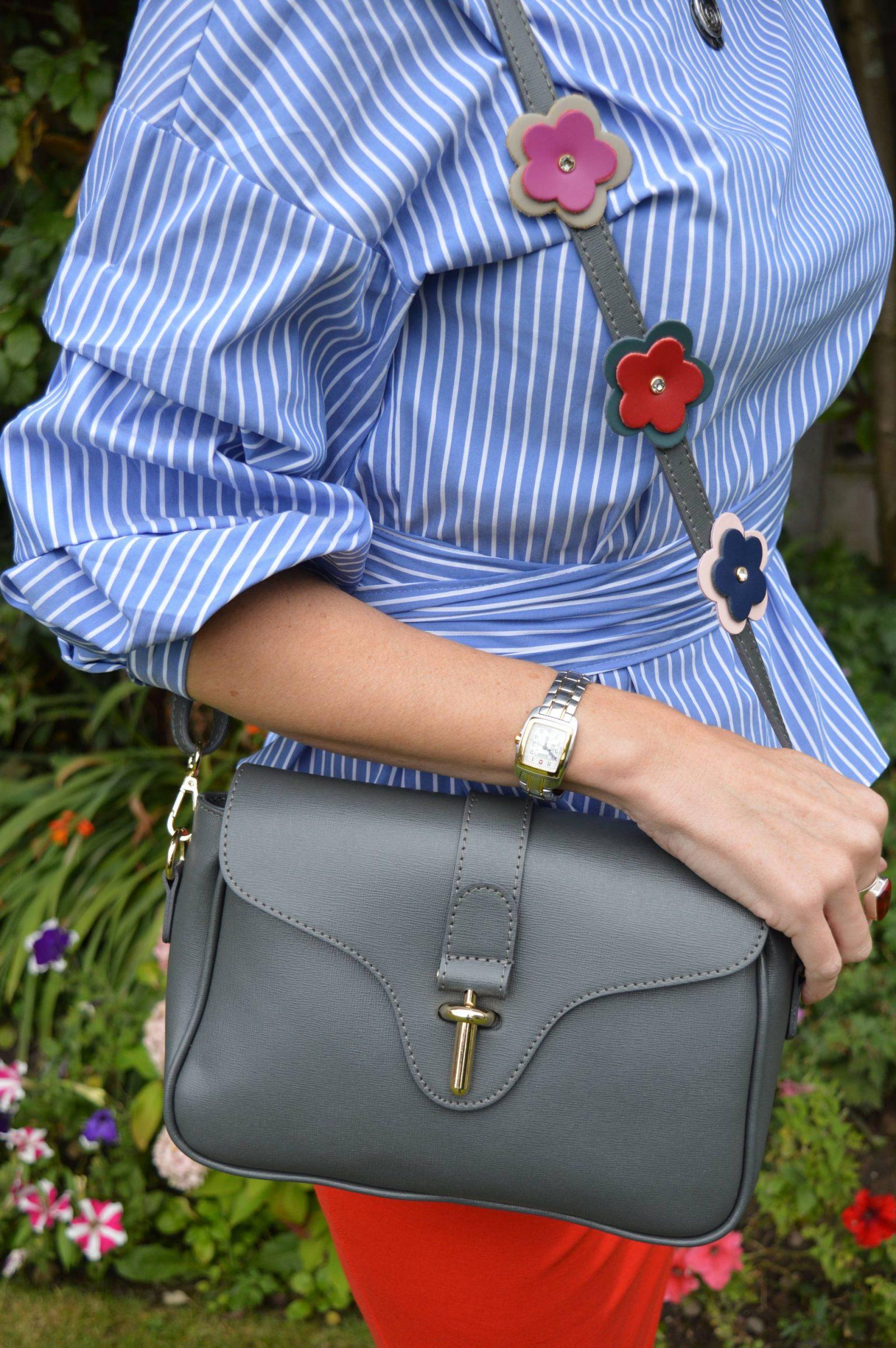 Zara striped wrap top, grey bag with flower strap