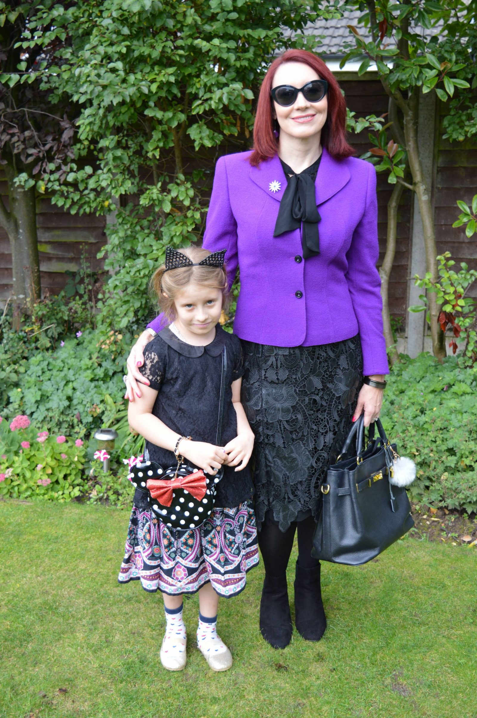 Purple Escada Jacket and Black Lace Skirt