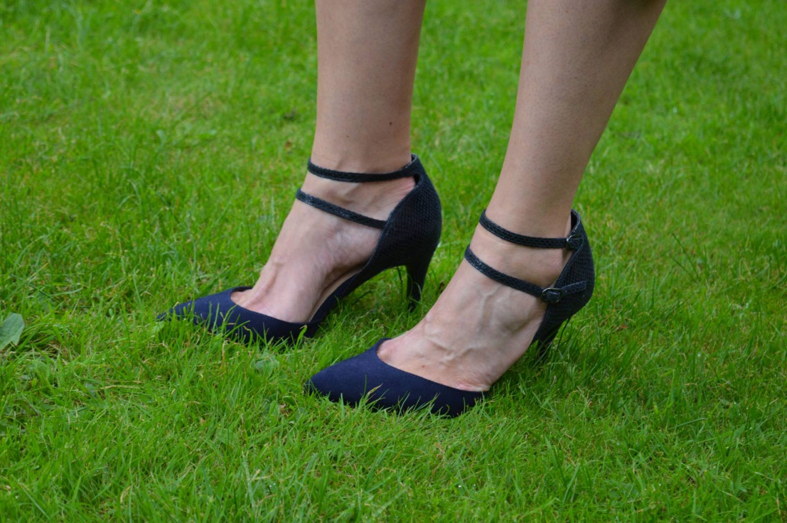 Navy M&S ankle strap shoes