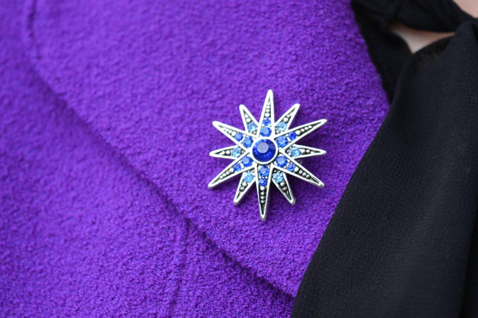 Purple Escada Jacket and Black Lace Skirt Pia brooch