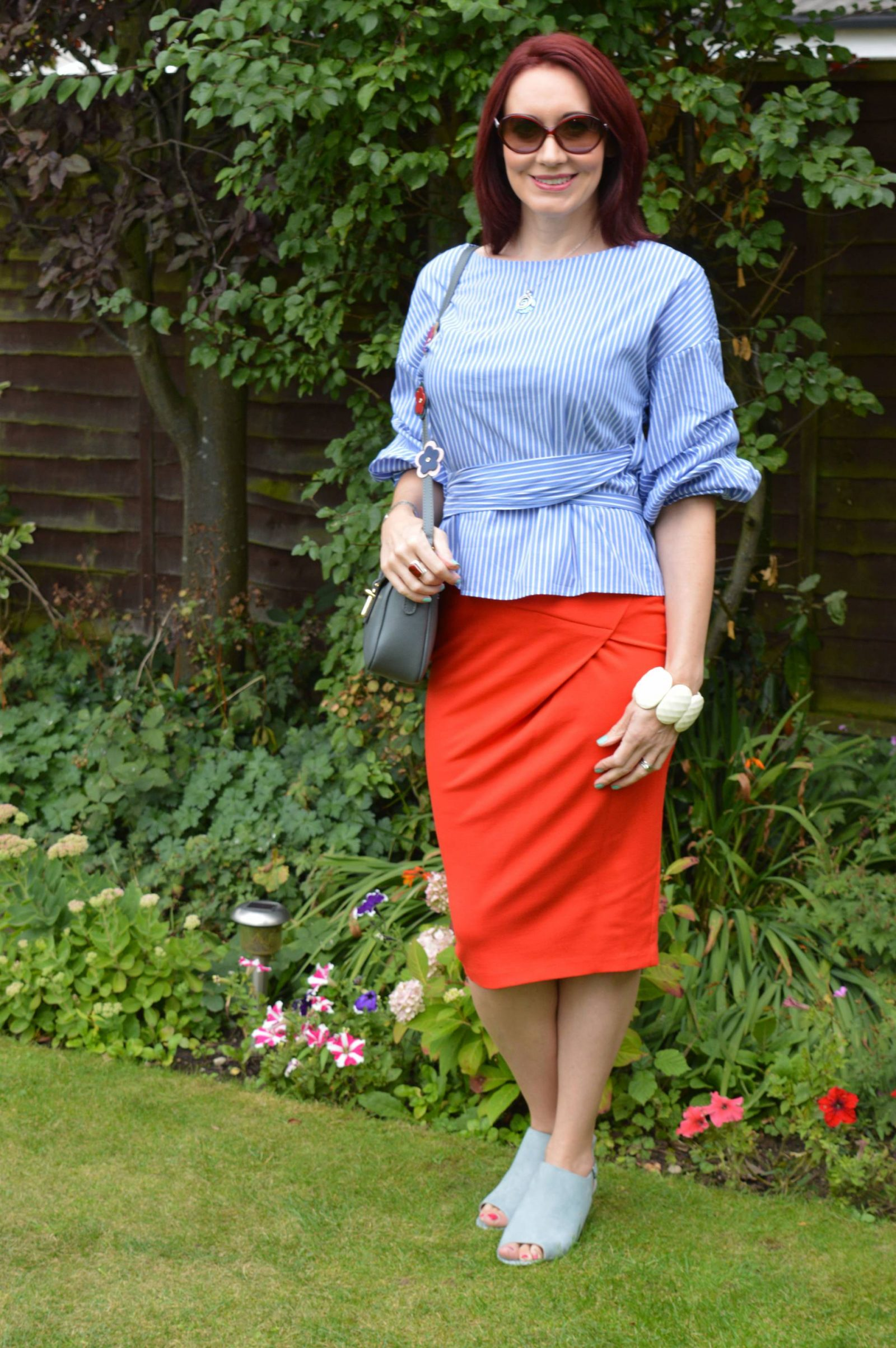 Zara blue and white striped wrap blouse Asos red pencil skirt