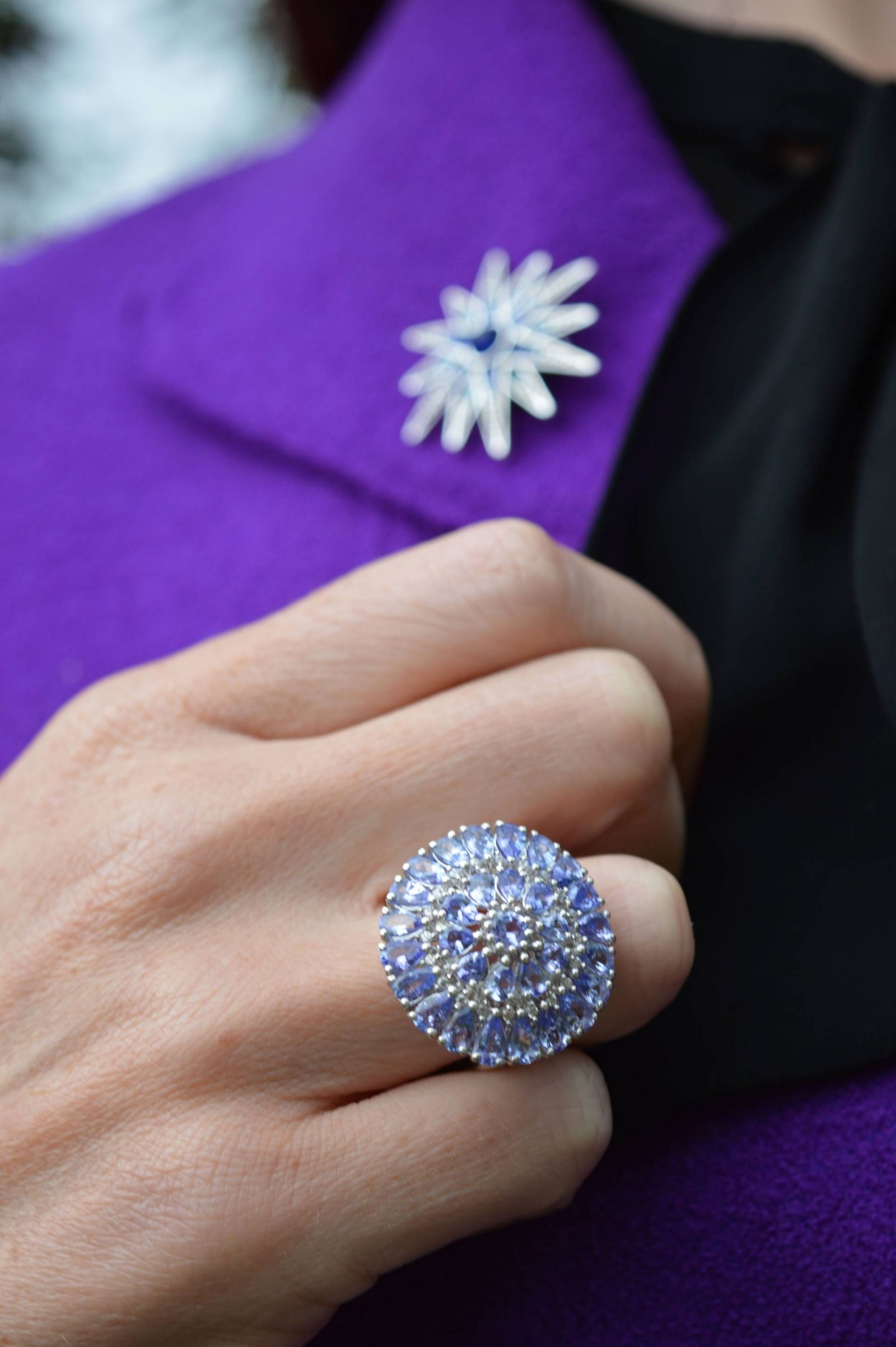Purple Escada Jacket and Black Lace Skirt Gemporia Tanzanite cluster ring