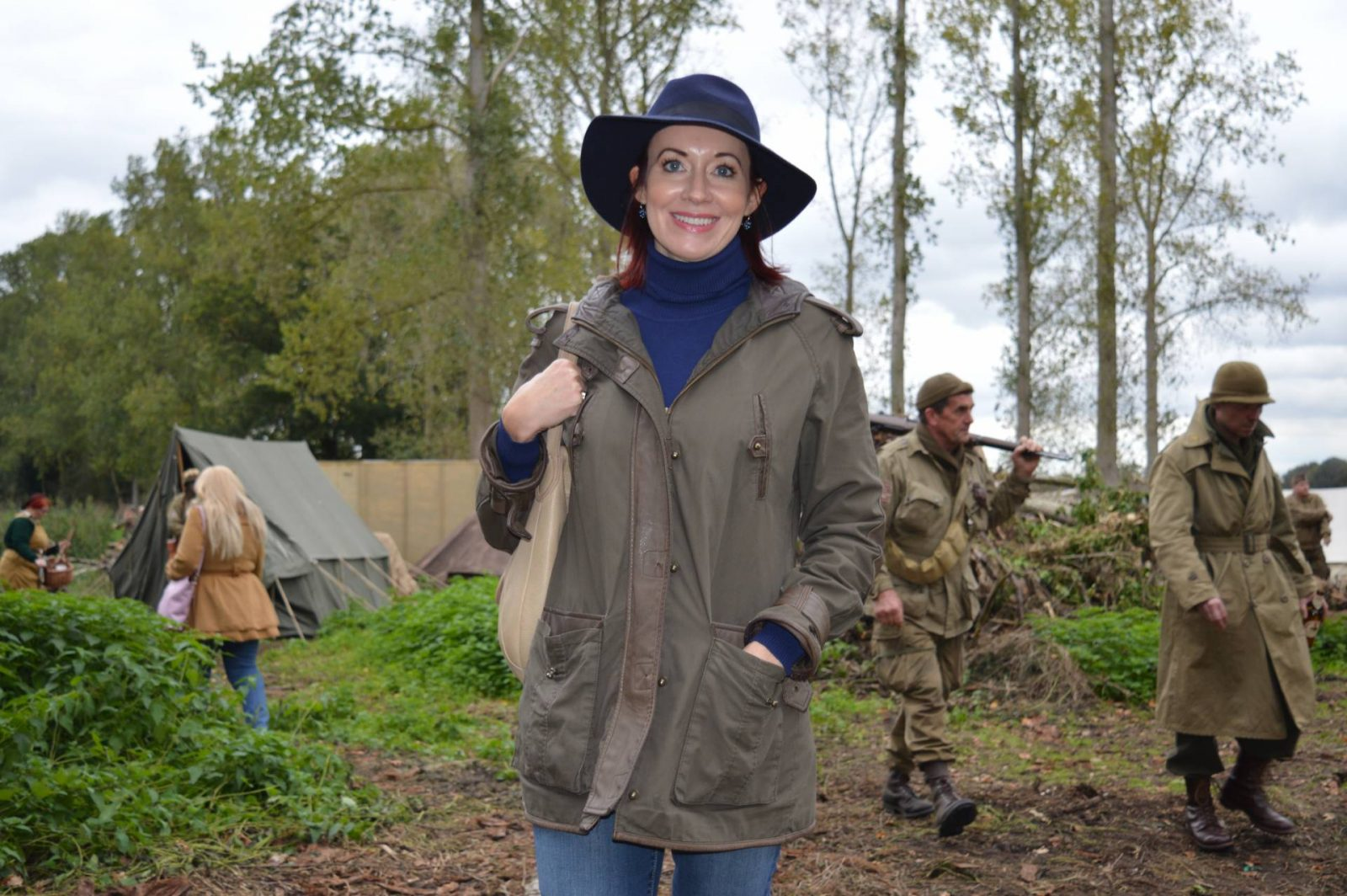 'Life on the Holme Front' 1940s Weekend, khaki Asos coat