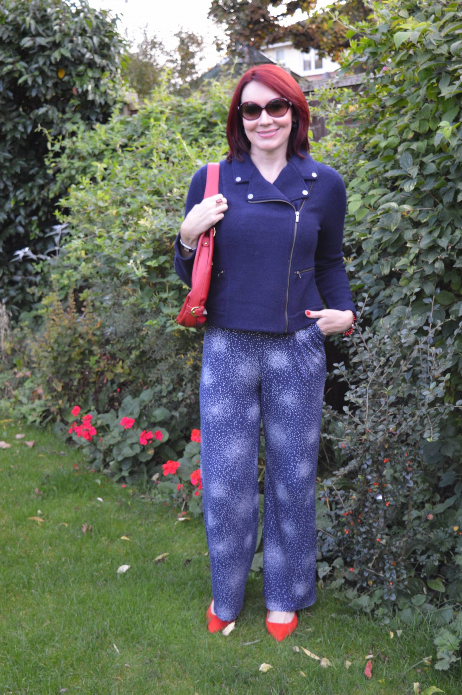 Styling a Jumpsuit For Day to Night Laura Ashley jumpsuit navy boiled wool jacket