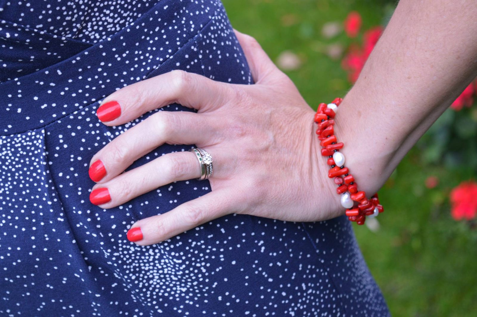 Styling a Jumpsuit For Day to Night Laura Ashley jumpsuit red and pearl Pia bracelet