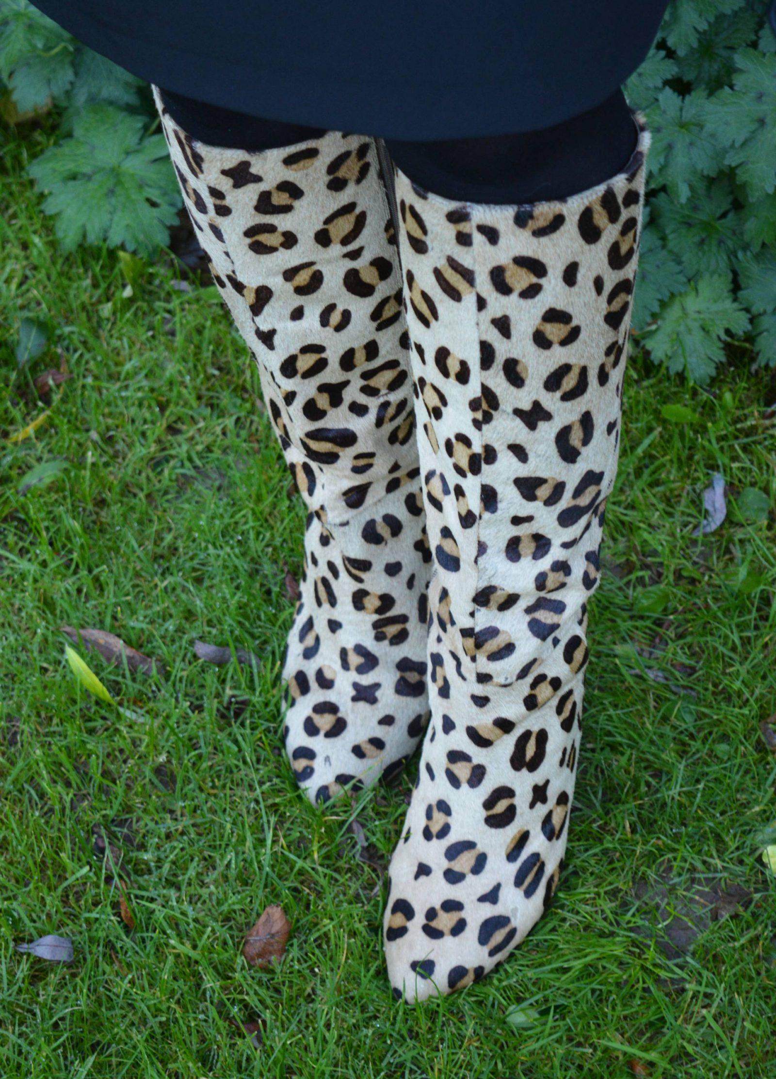 Leopard Print Boots and a Peplum Skirt