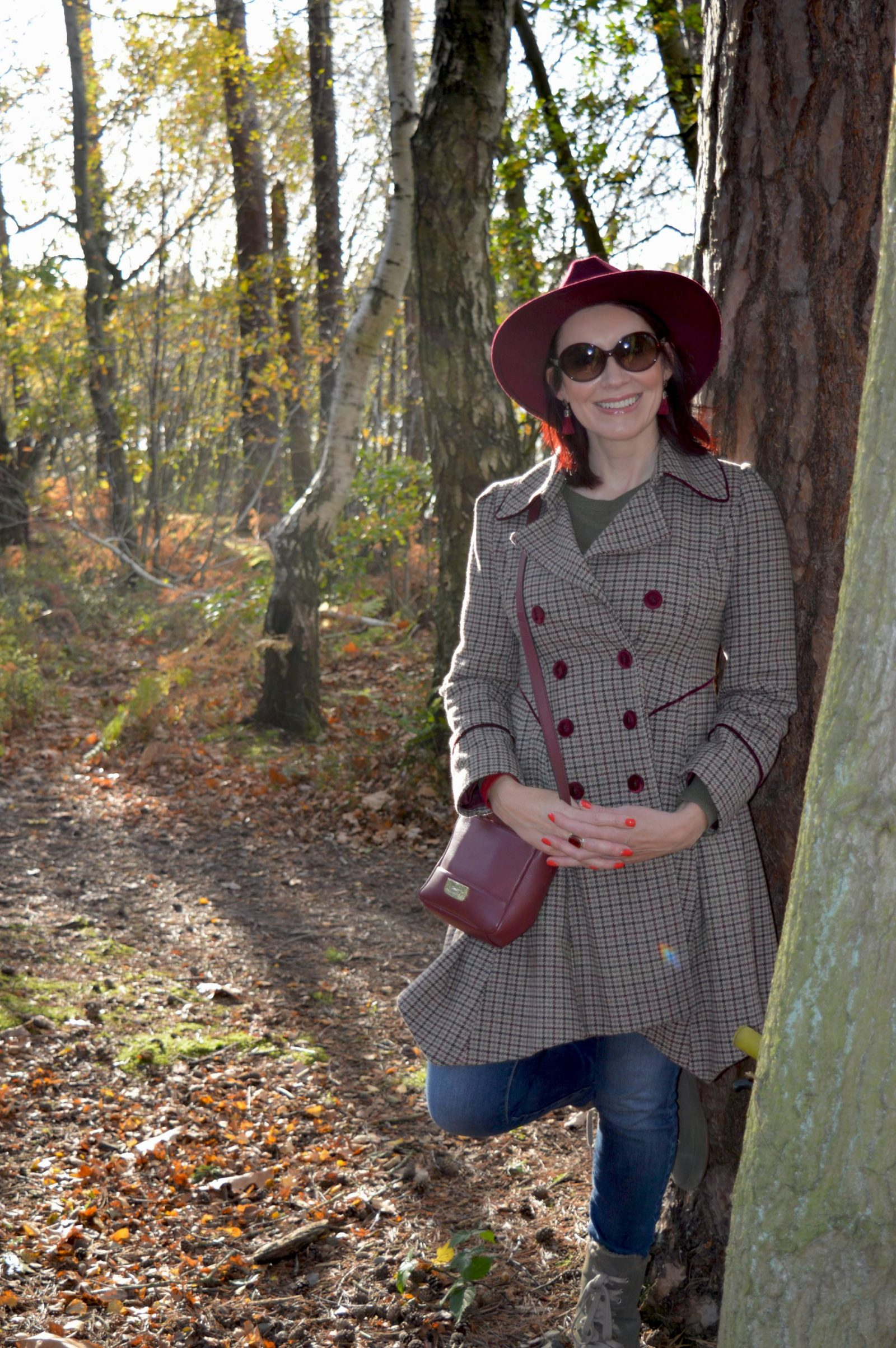 Checked Coat and Wide Brim Hat for a Walk in the Forest + Link Up