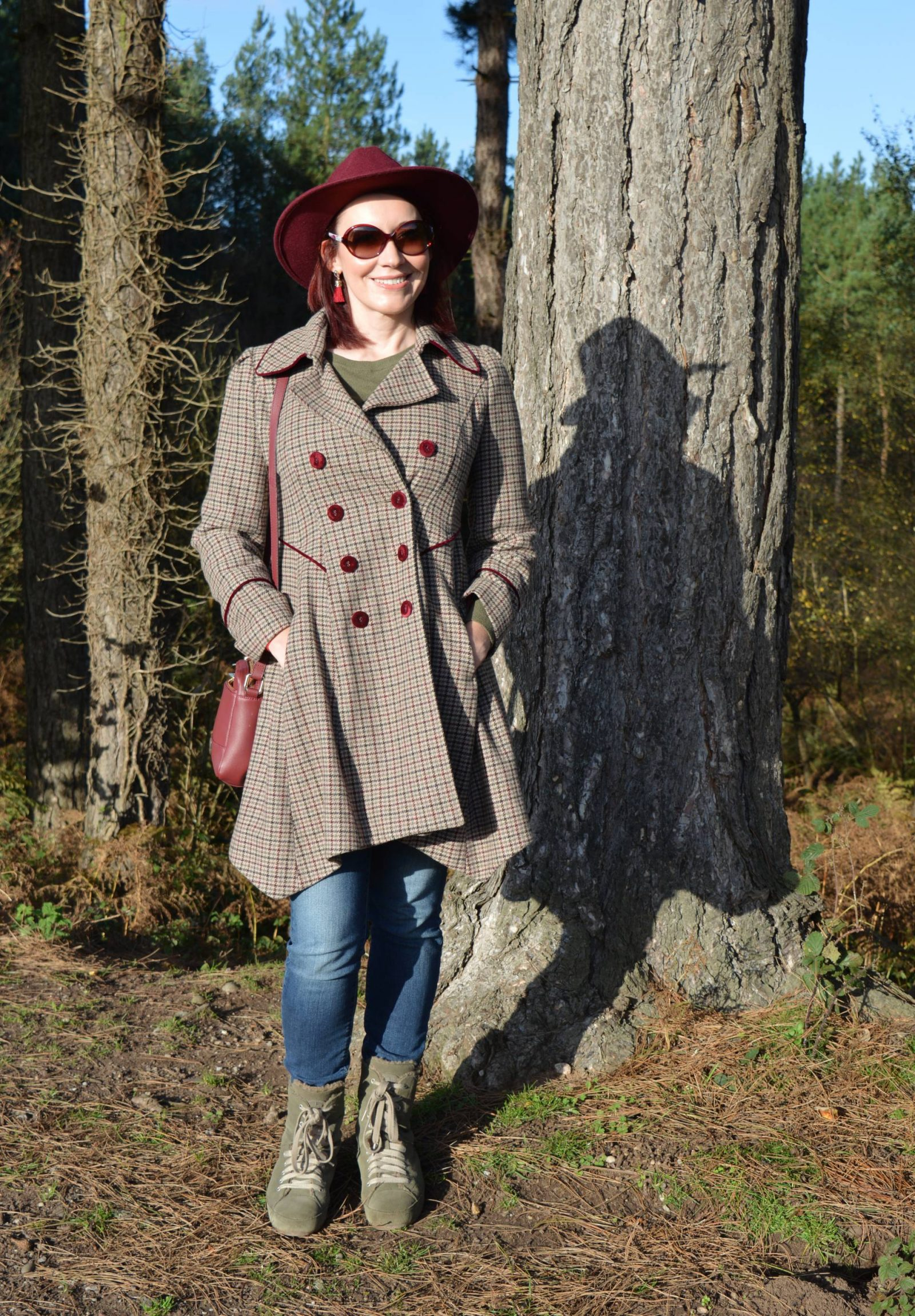 Checked Coat and Wide Brim Hat for a Walk in the Forest